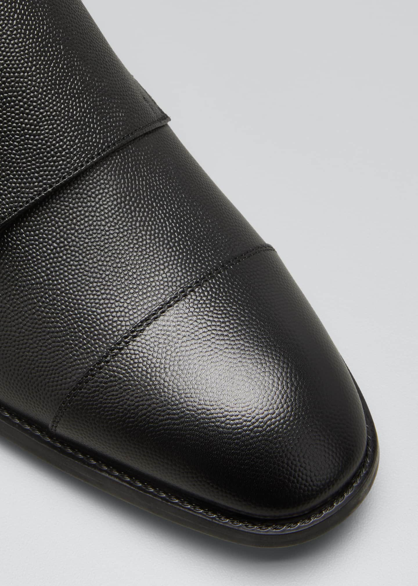 Image 3 of 3: Men's Double-Monk Strap Pebbled Leather Loafers