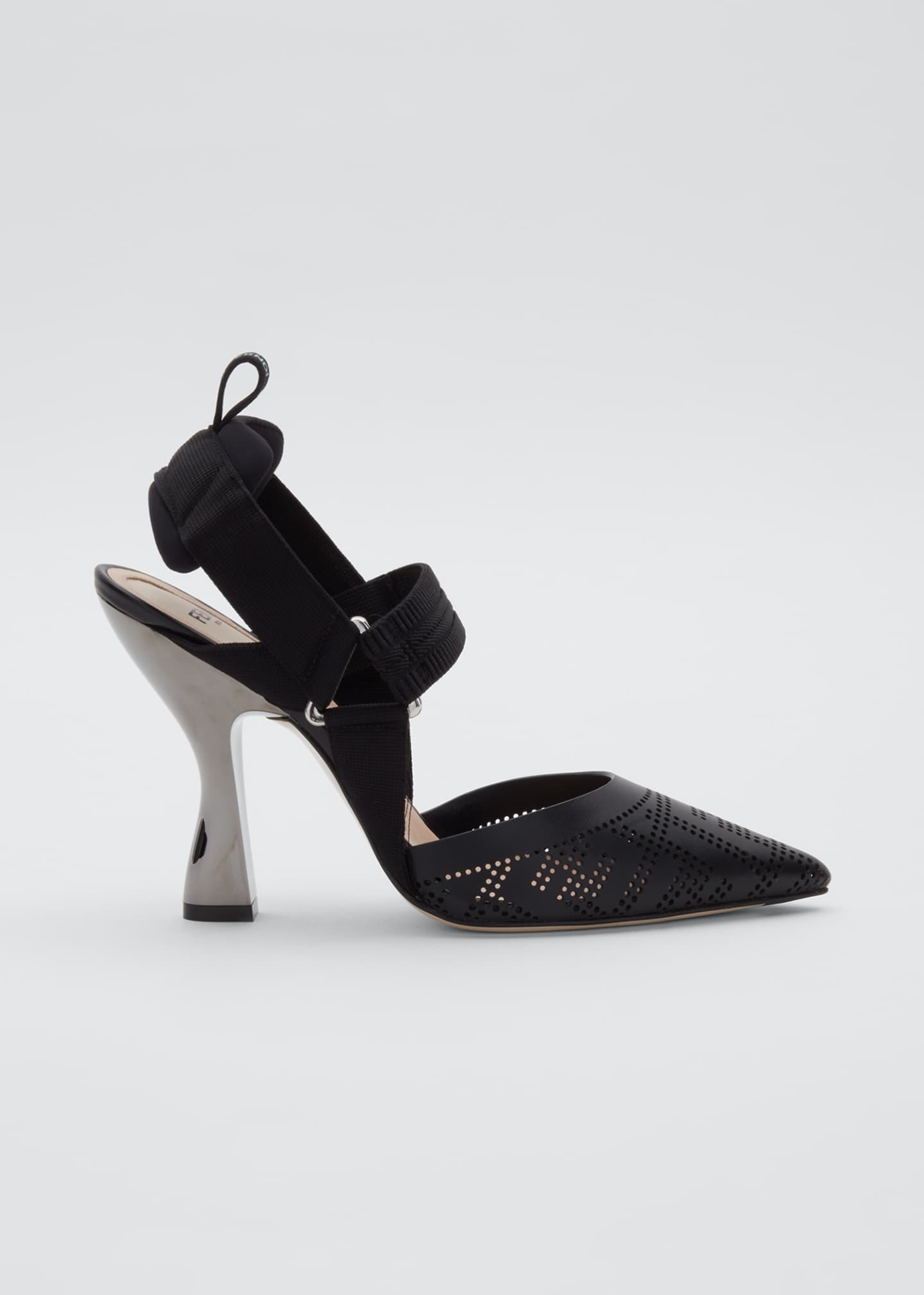 Image 1 of 3: FF Perforated Slingback Pumps
