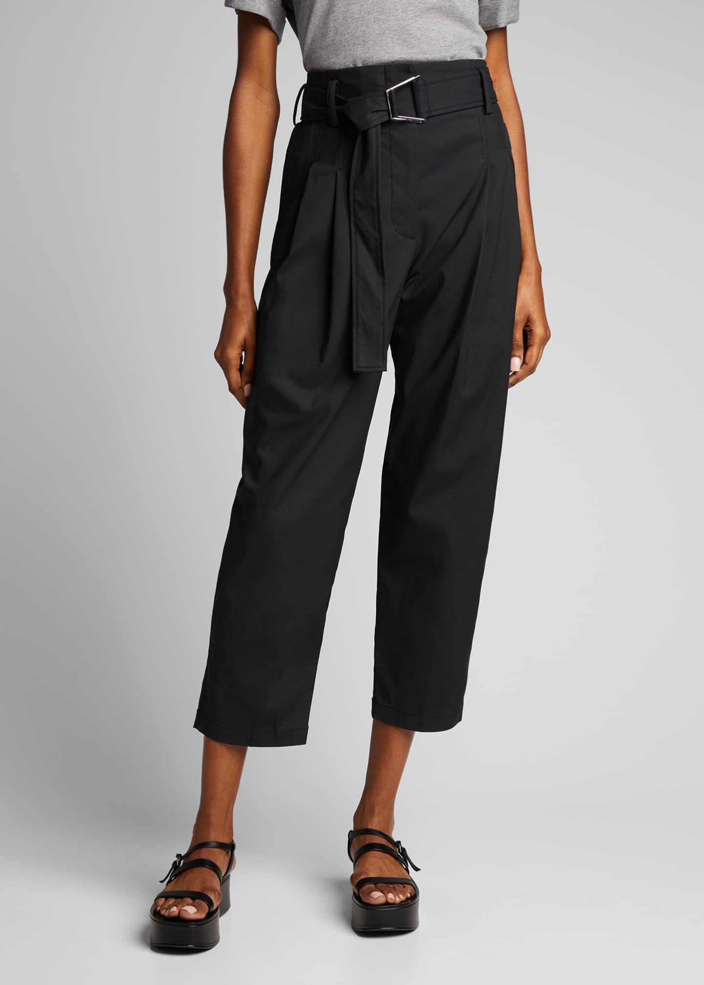 Image 3 of 5: Belted Utility Cropped Pants