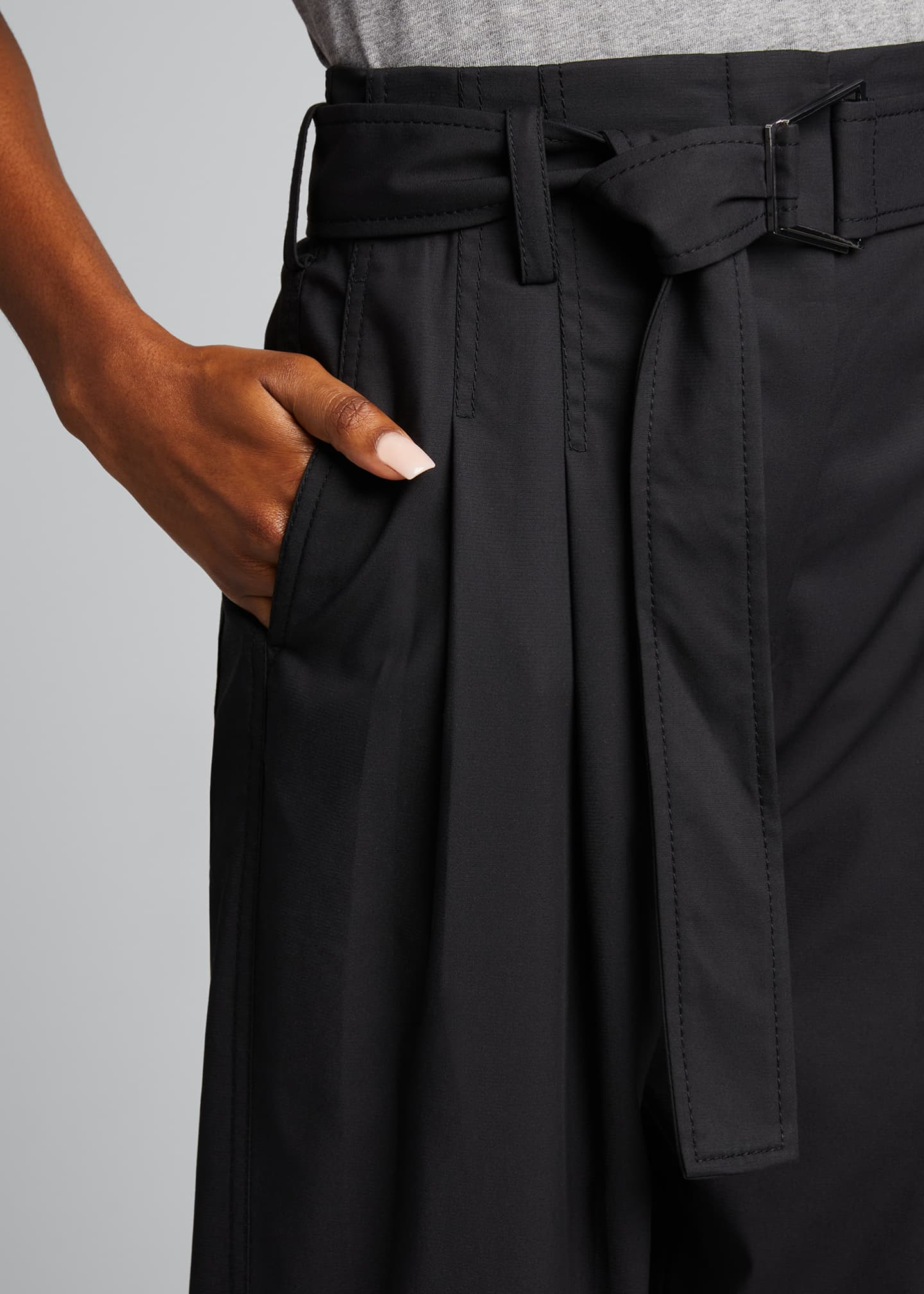 Image 4 of 5: Belted Utility Cropped Pants