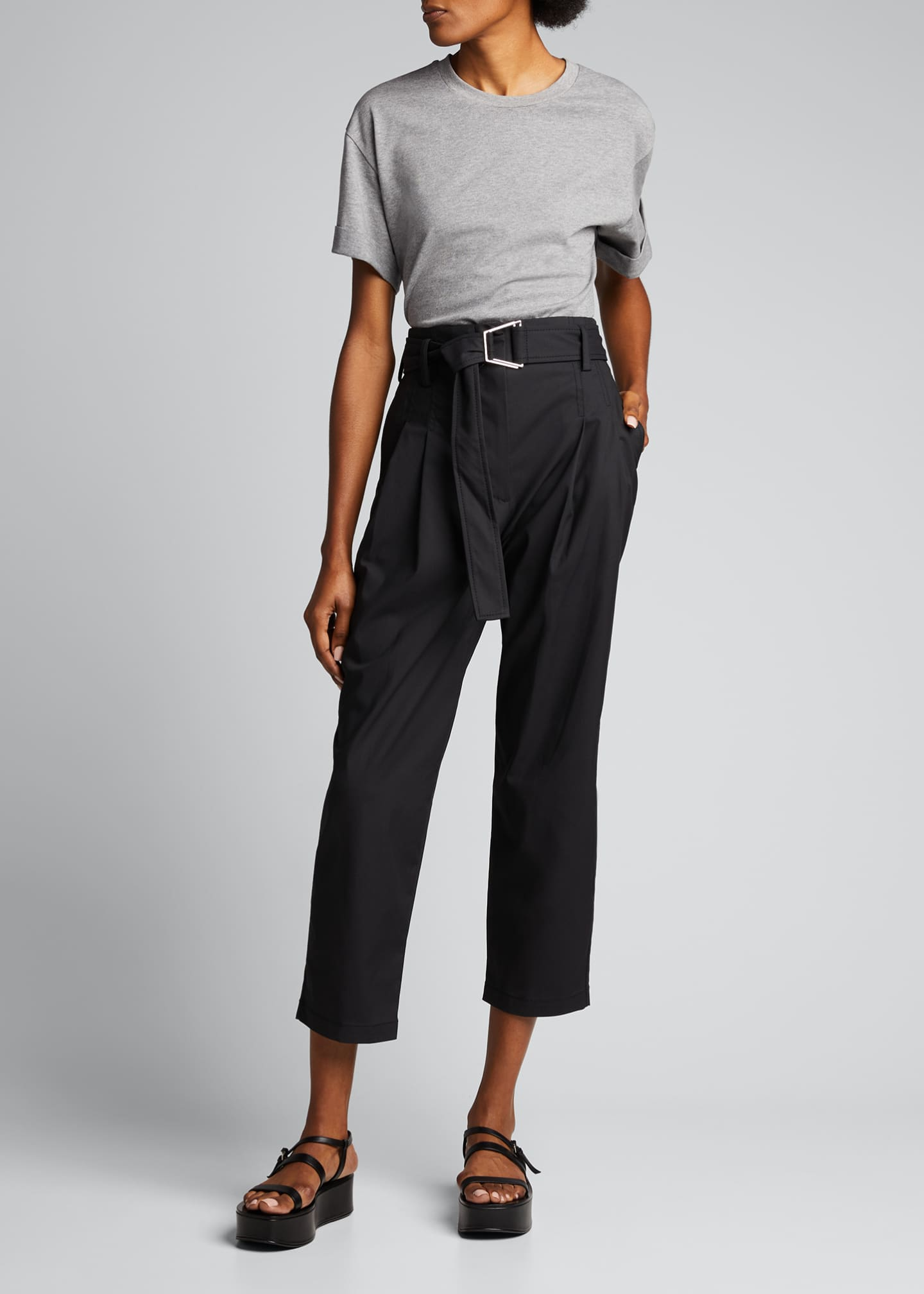 Image 1 of 5: Belted Utility Cropped Pants