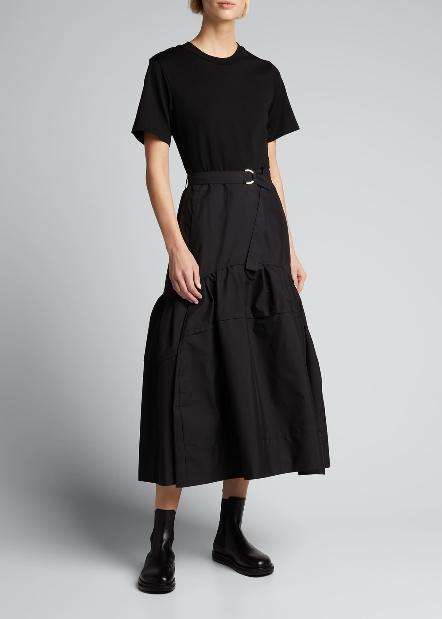 Image 3 of 5: Belted T-Shirt Midi Dress