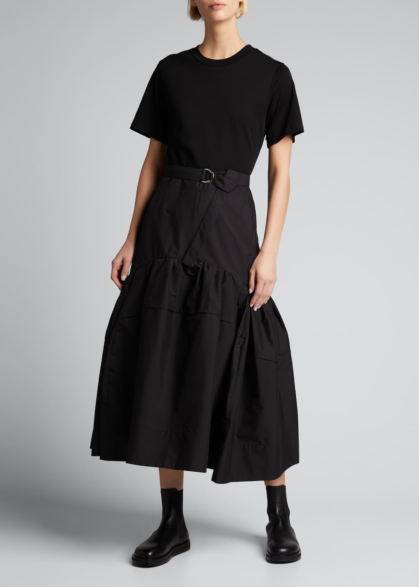 Image 1 of 5: Belted T-Shirt Midi Dress