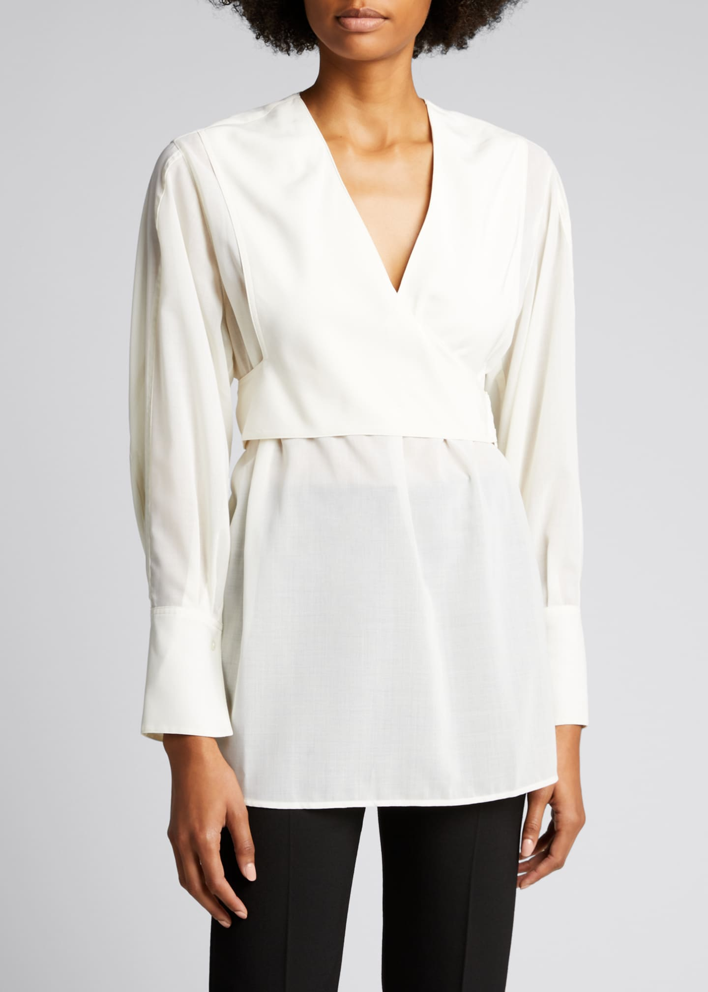 Image 3 of 4: Long-Sleeve Wrap Voile Blouse