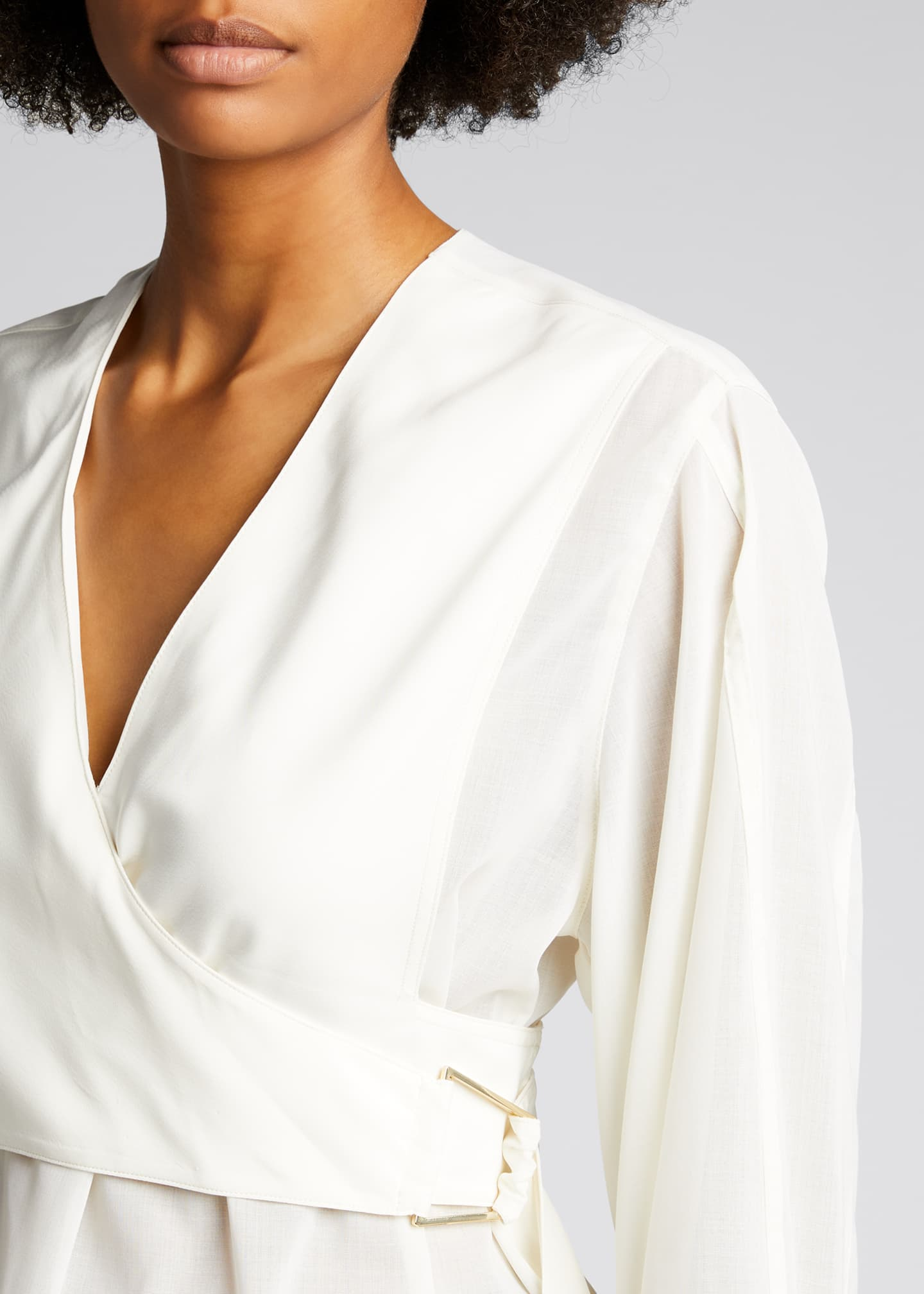 Image 4 of 4: Long-Sleeve Wrap Voile Blouse