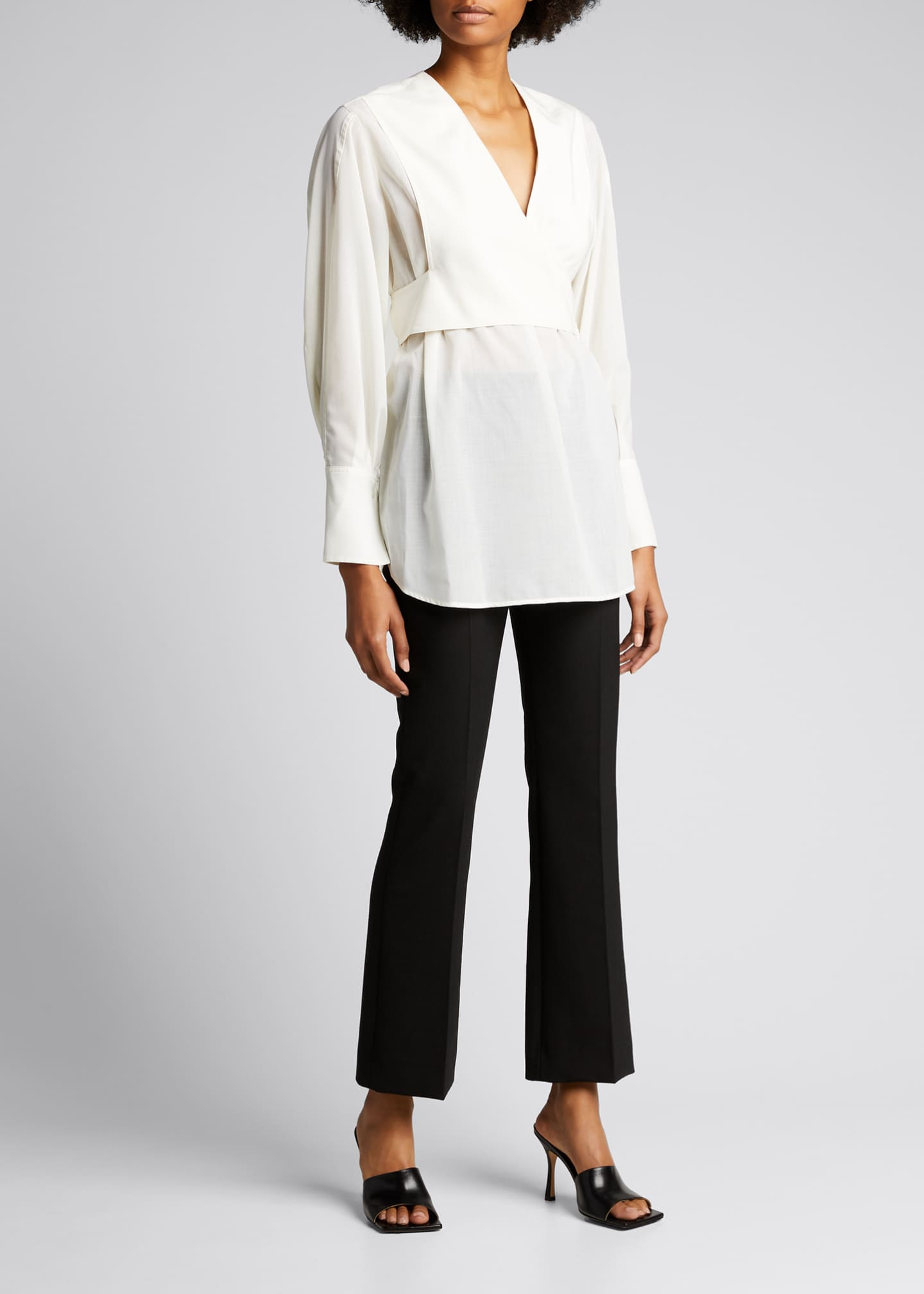 Image 1 of 4: Long-Sleeve Wrap Voile Blouse