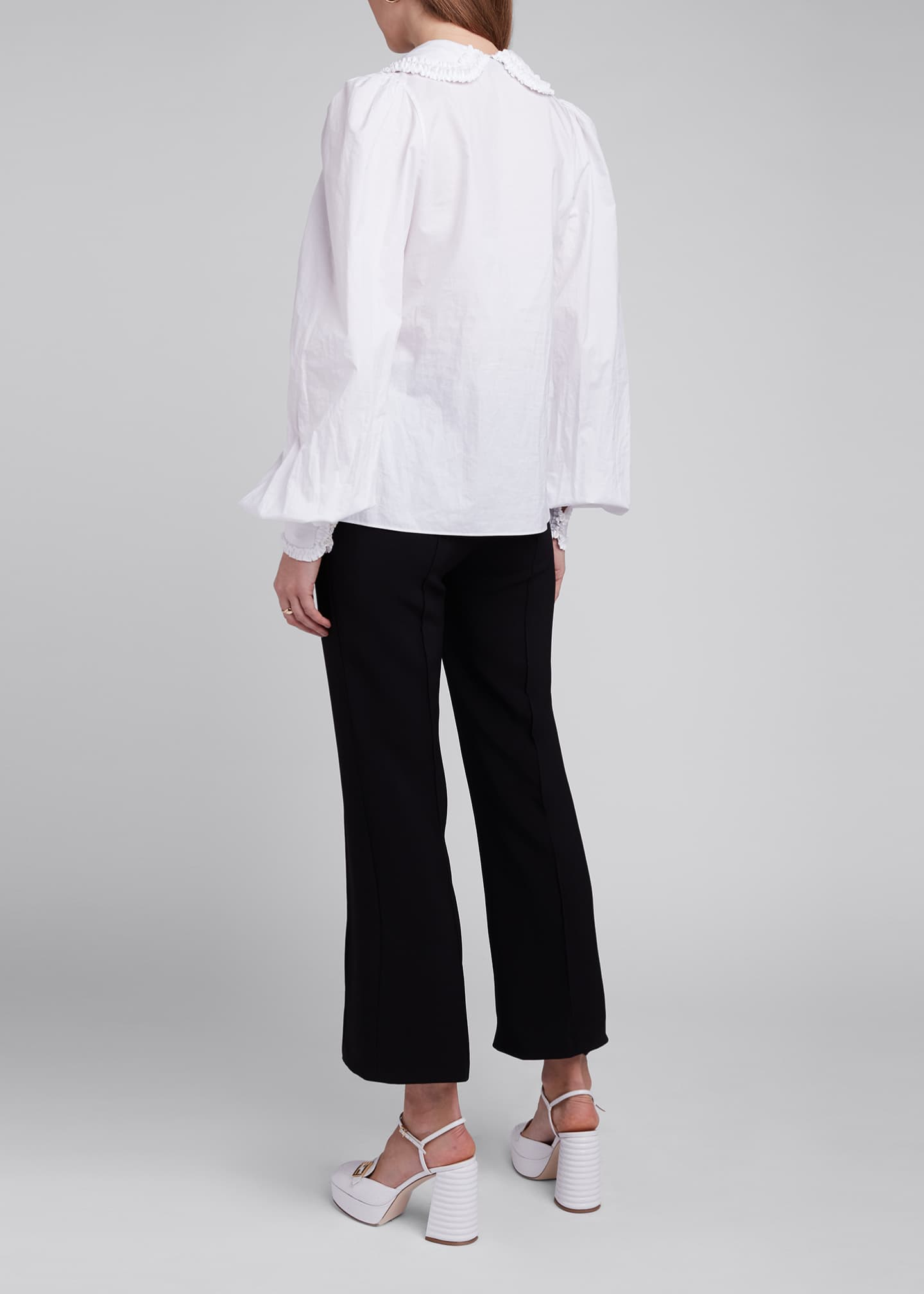 Image 2 of 4: Ruffled Peter Pan Collar Poplin Shirt
