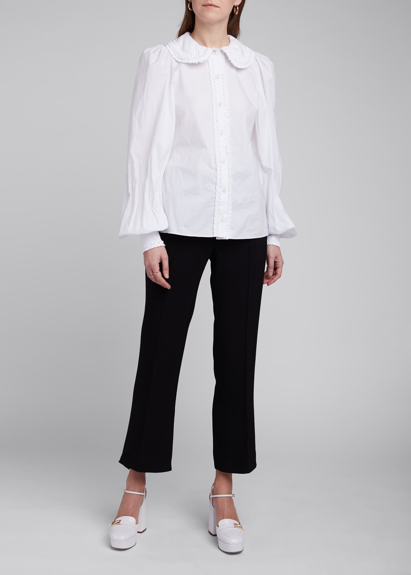 Image 3 of 4: Ruffled Peter Pan Collar Poplin Shirt