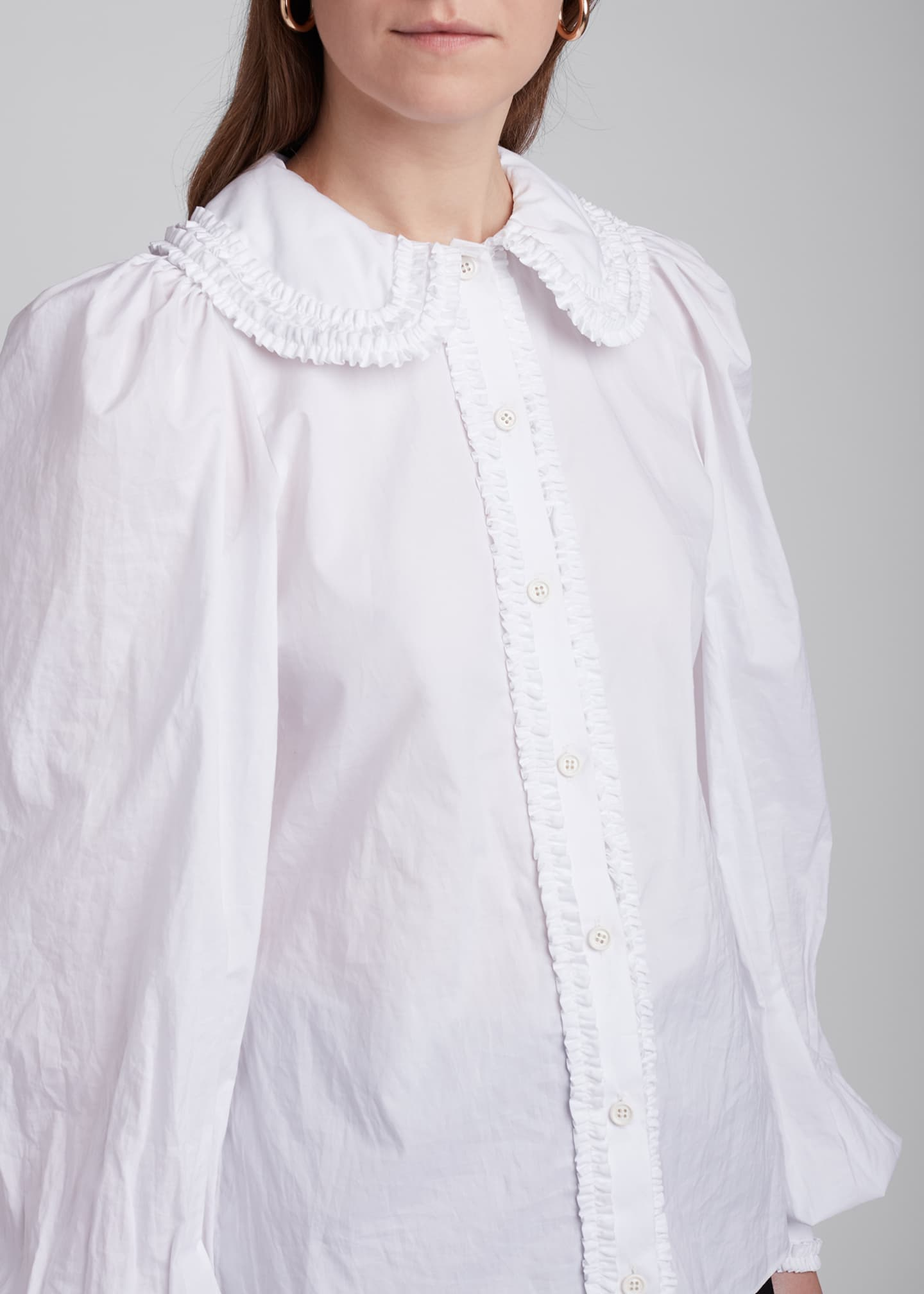 Image 4 of 4: Ruffled Peter Pan Collar Poplin Shirt