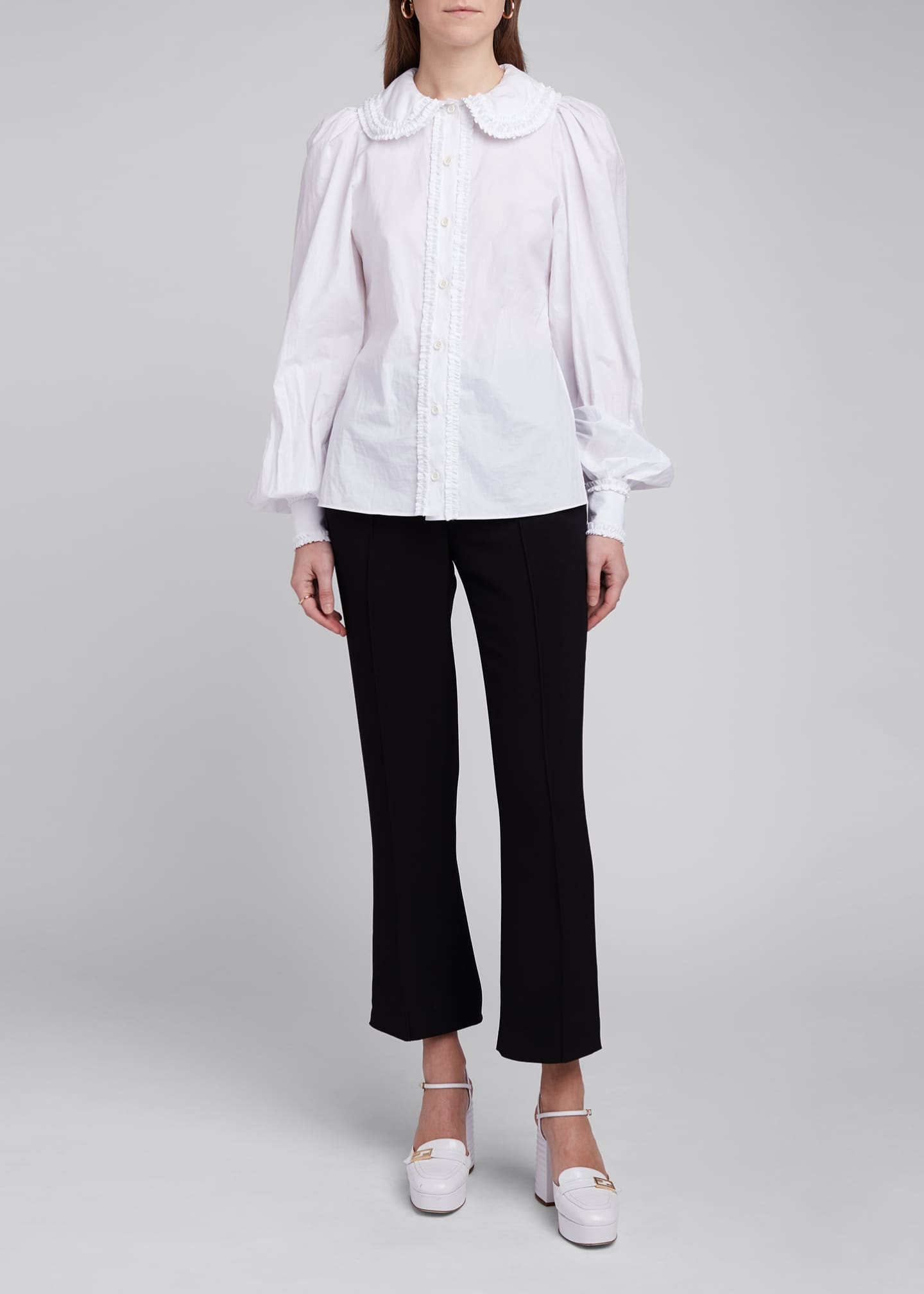 Image 1 of 4: Ruffled Peter Pan Collar Poplin Shirt