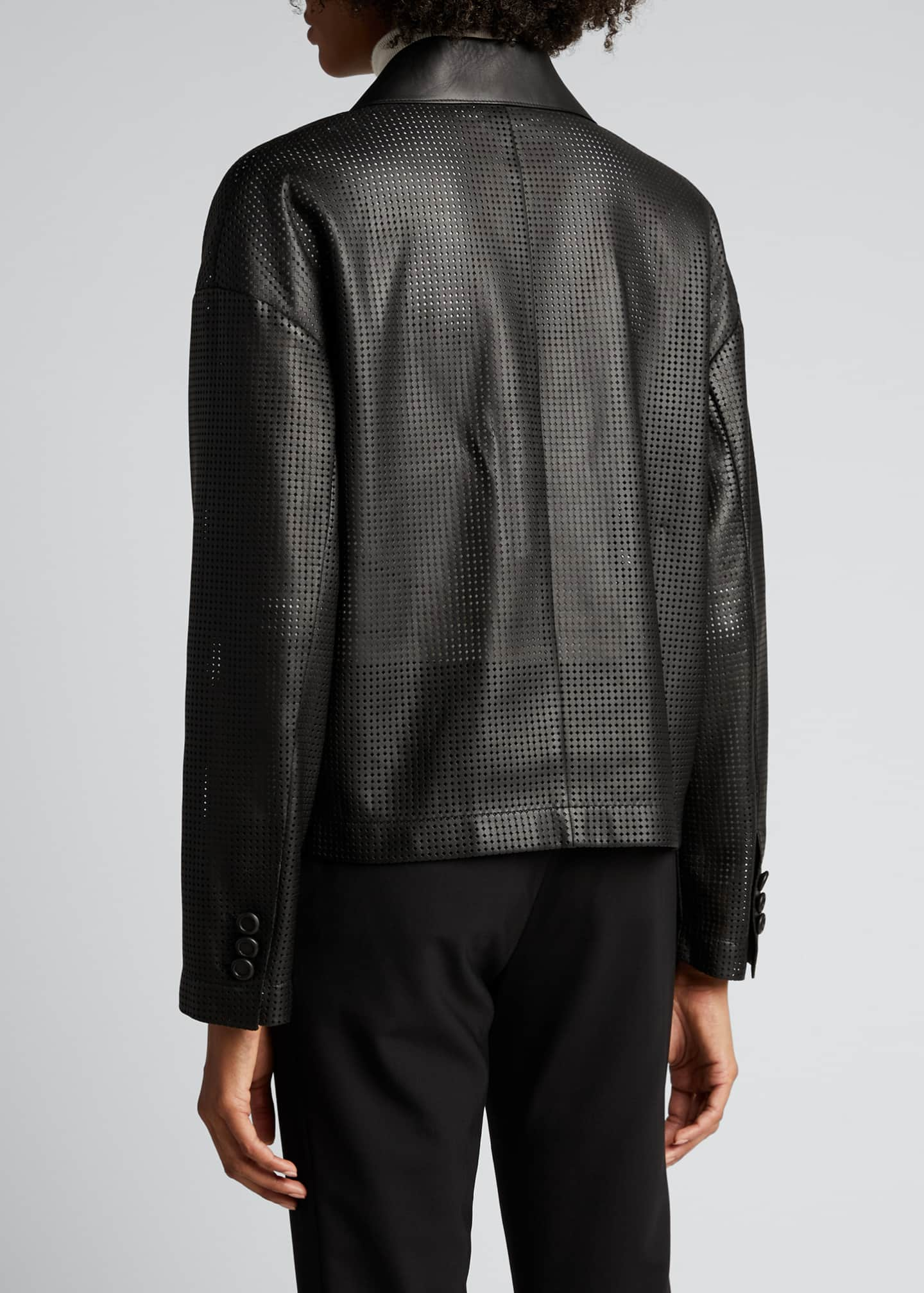 Image 2 of 4: Perforated Double-Breasted Leather Jacket