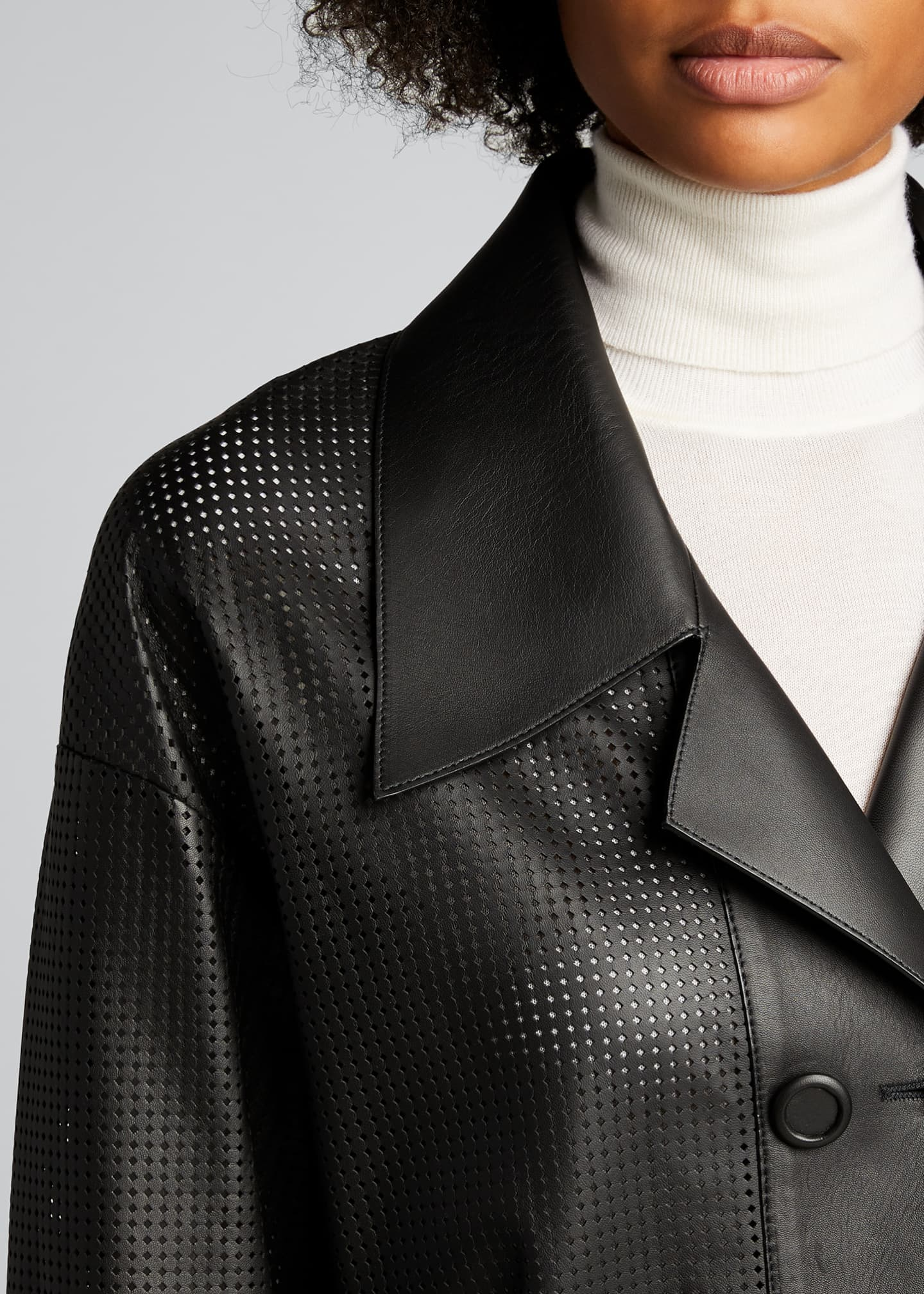 Image 4 of 4: Perforated Double-Breasted Leather Jacket