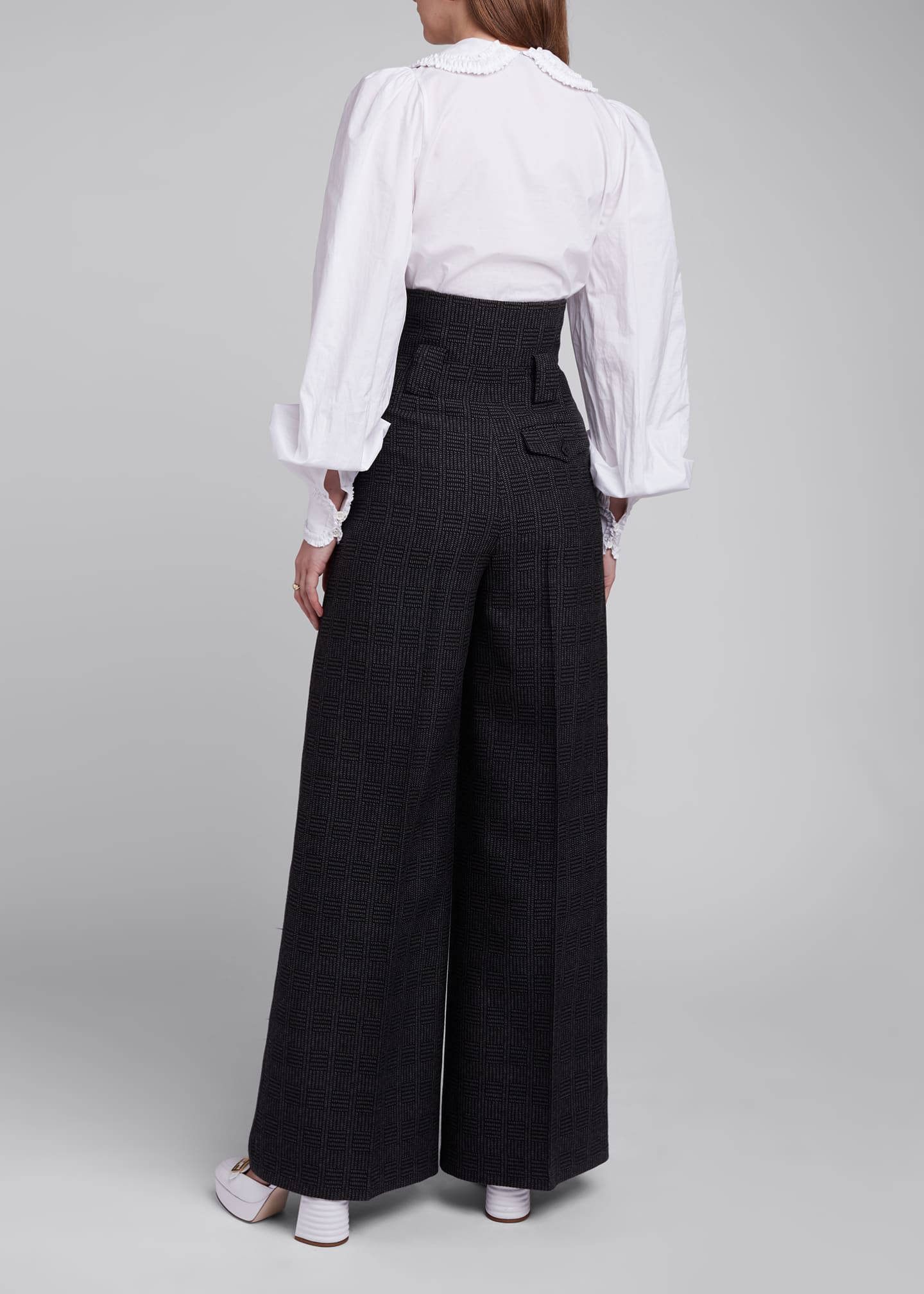 Image 2 of 4: High-Rise Prince of Wales Wide-Leg Pants