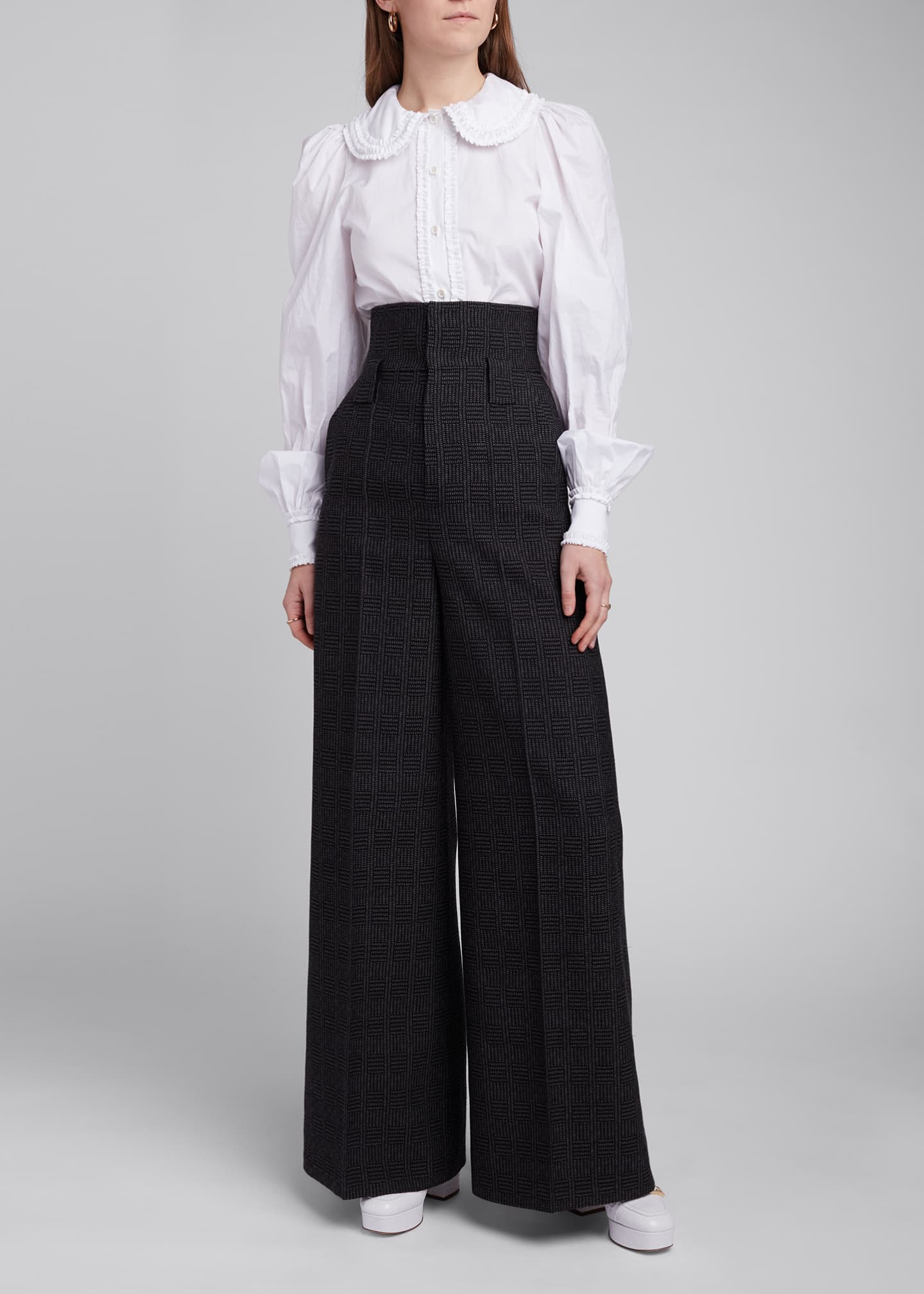Image 3 of 4: High-Rise Prince of Wales Wide-Leg Pants