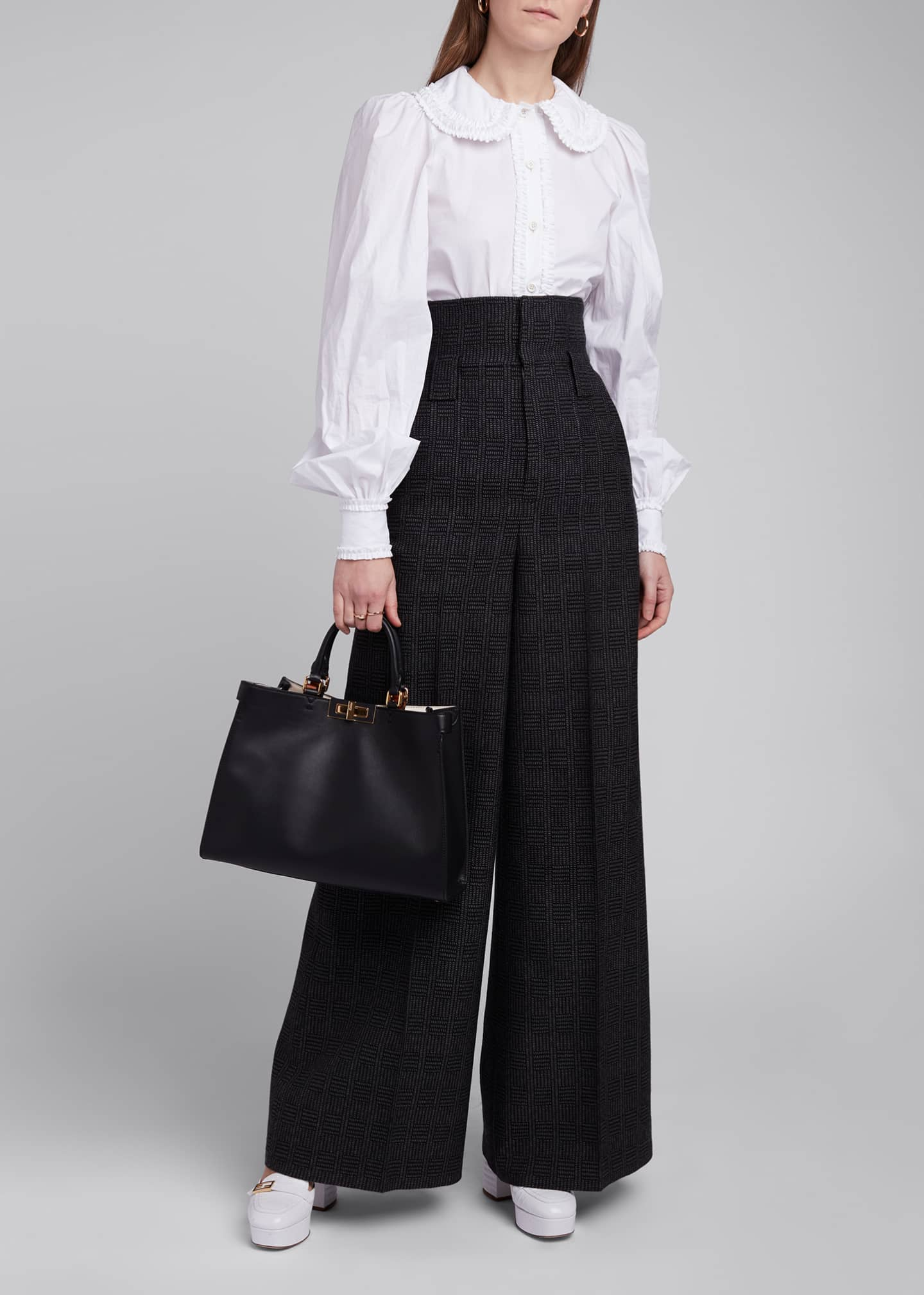 Image 1 of 4: High-Rise Prince of Wales Wide-Leg Pants