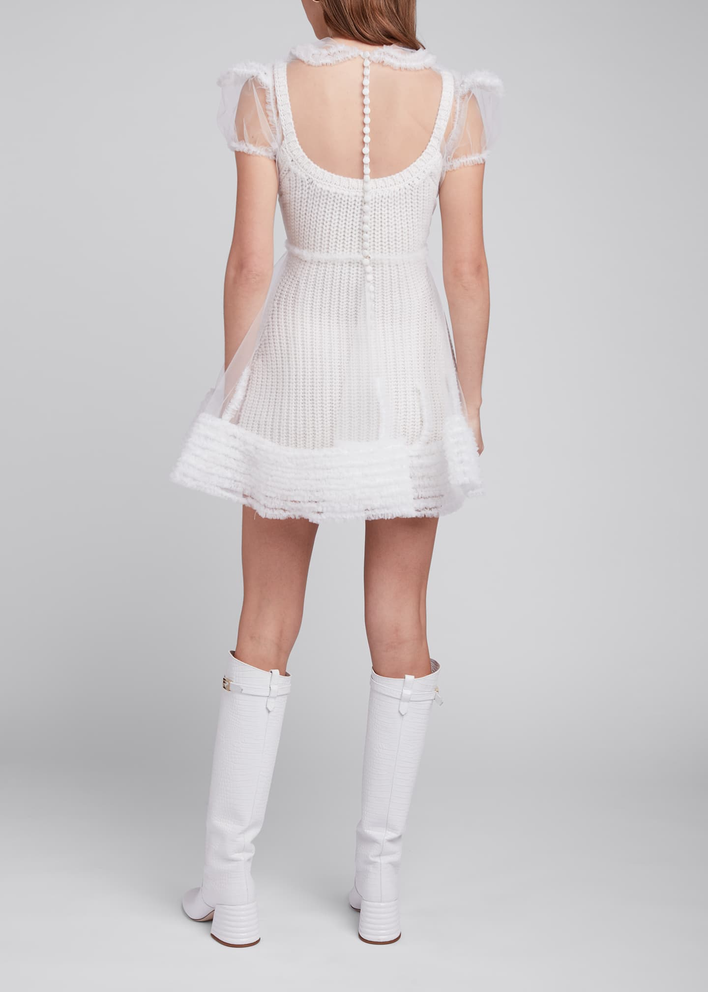 Image 2 of 4: Tulle Puff-Sleeve Shirtdress