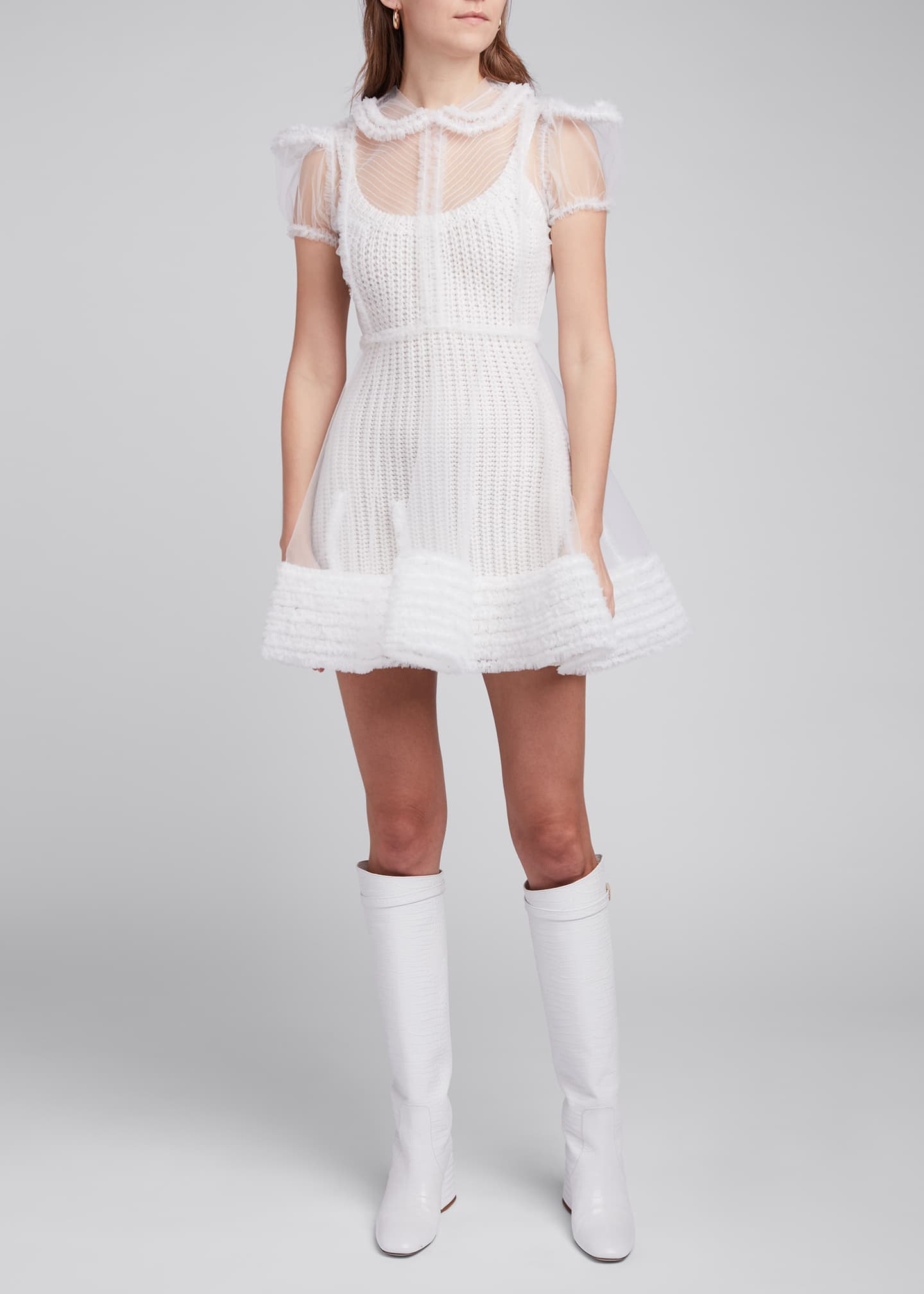 Image 3 of 4: Tulle Puff-Sleeve Shirtdress