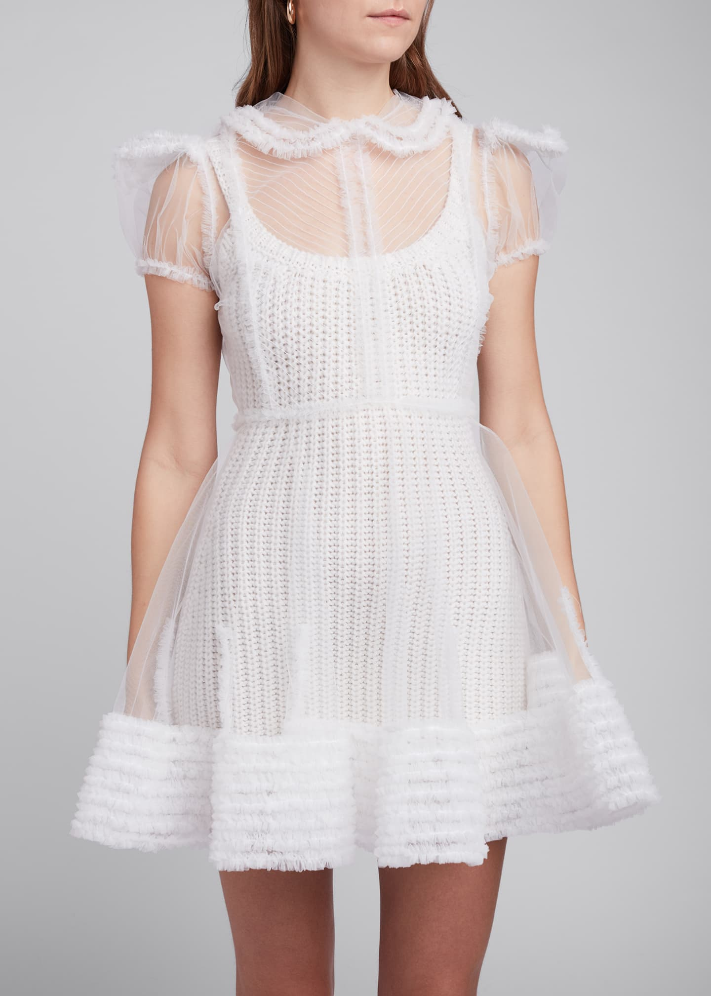 Image 4 of 4: Tulle Puff-Sleeve Shirtdress