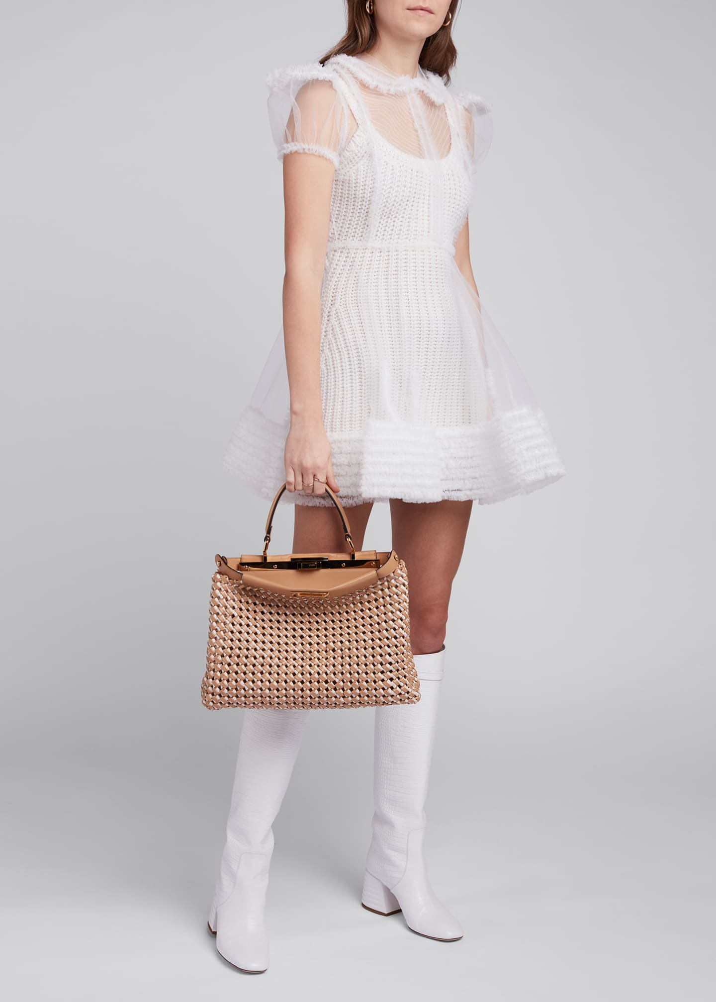 Image 1 of 4: Tulle Puff-Sleeve Shirtdress