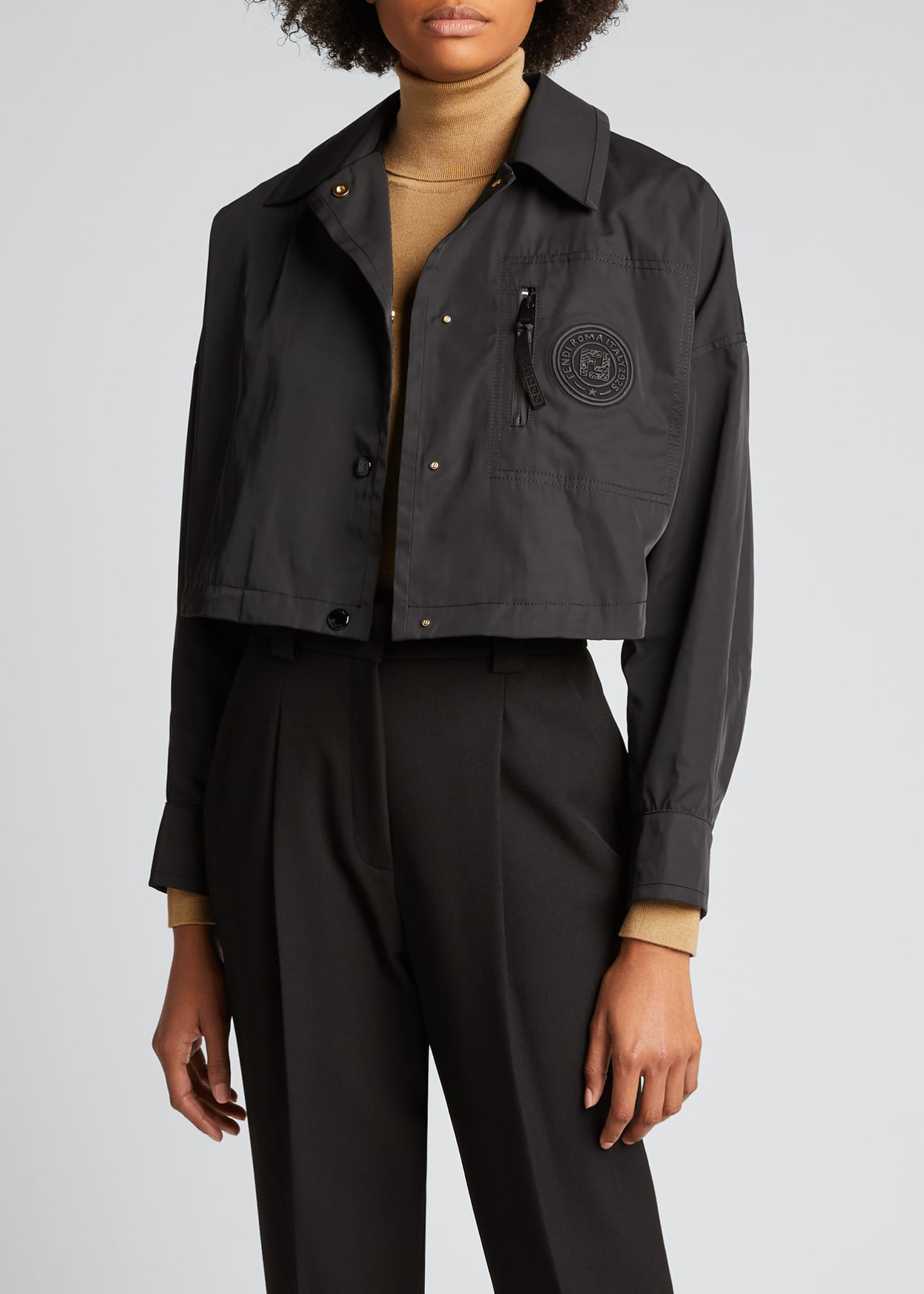Image 3 of 5: Monogram-Patch Cropped Jacket