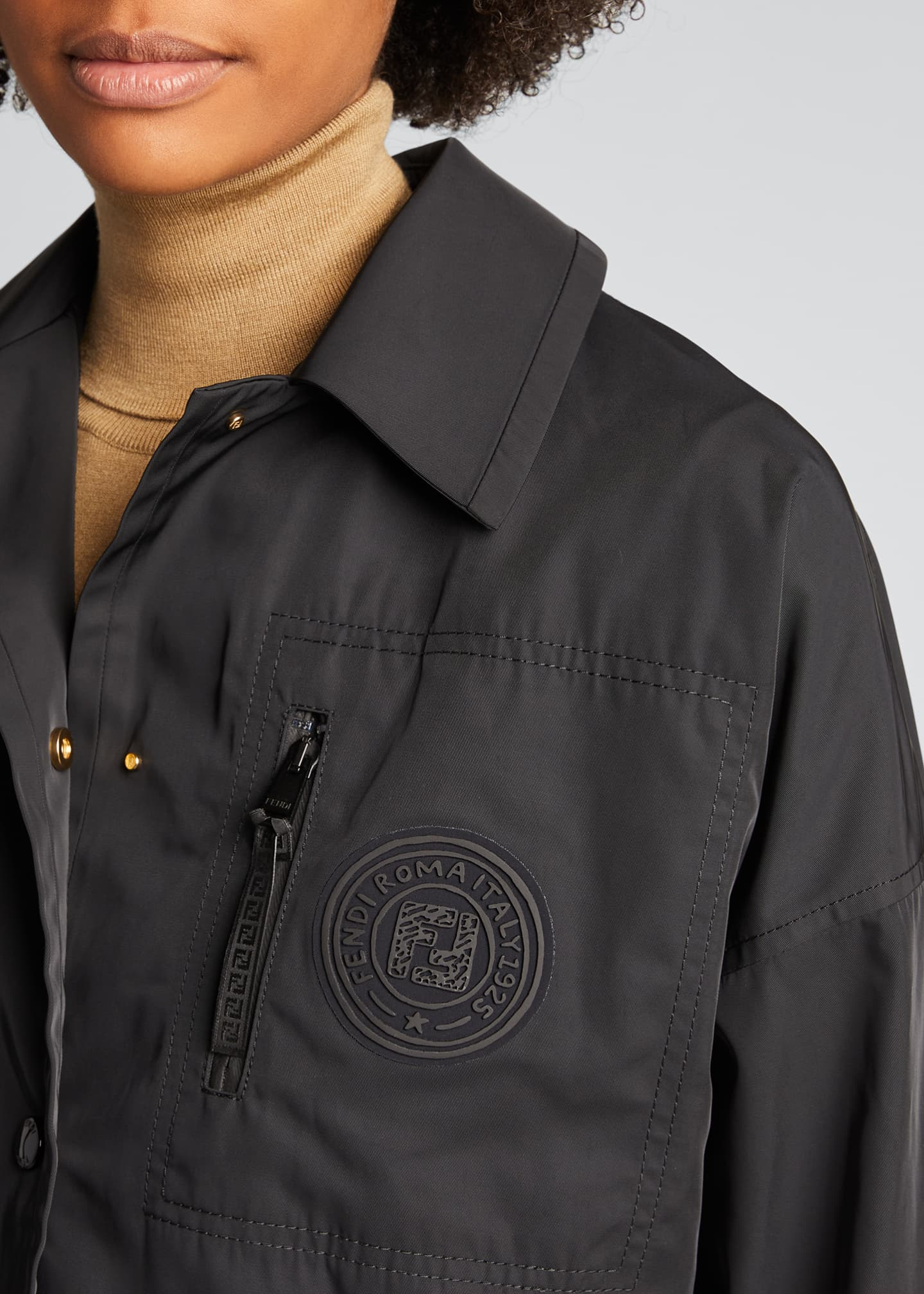 Image 4 of 5: Monogram-Patch Cropped Jacket