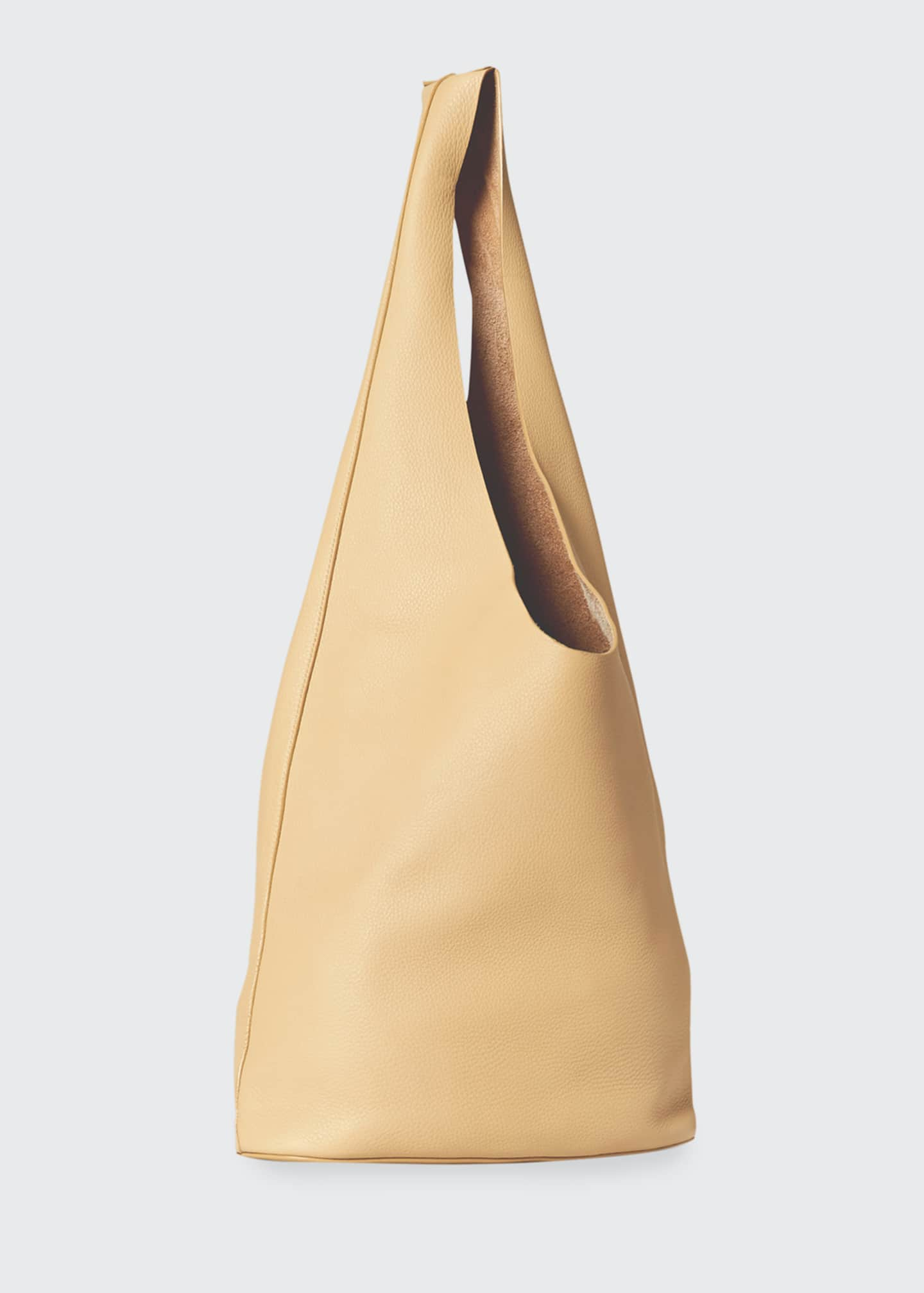 Image 2 of 5: Leather Hobo Bucket Bag