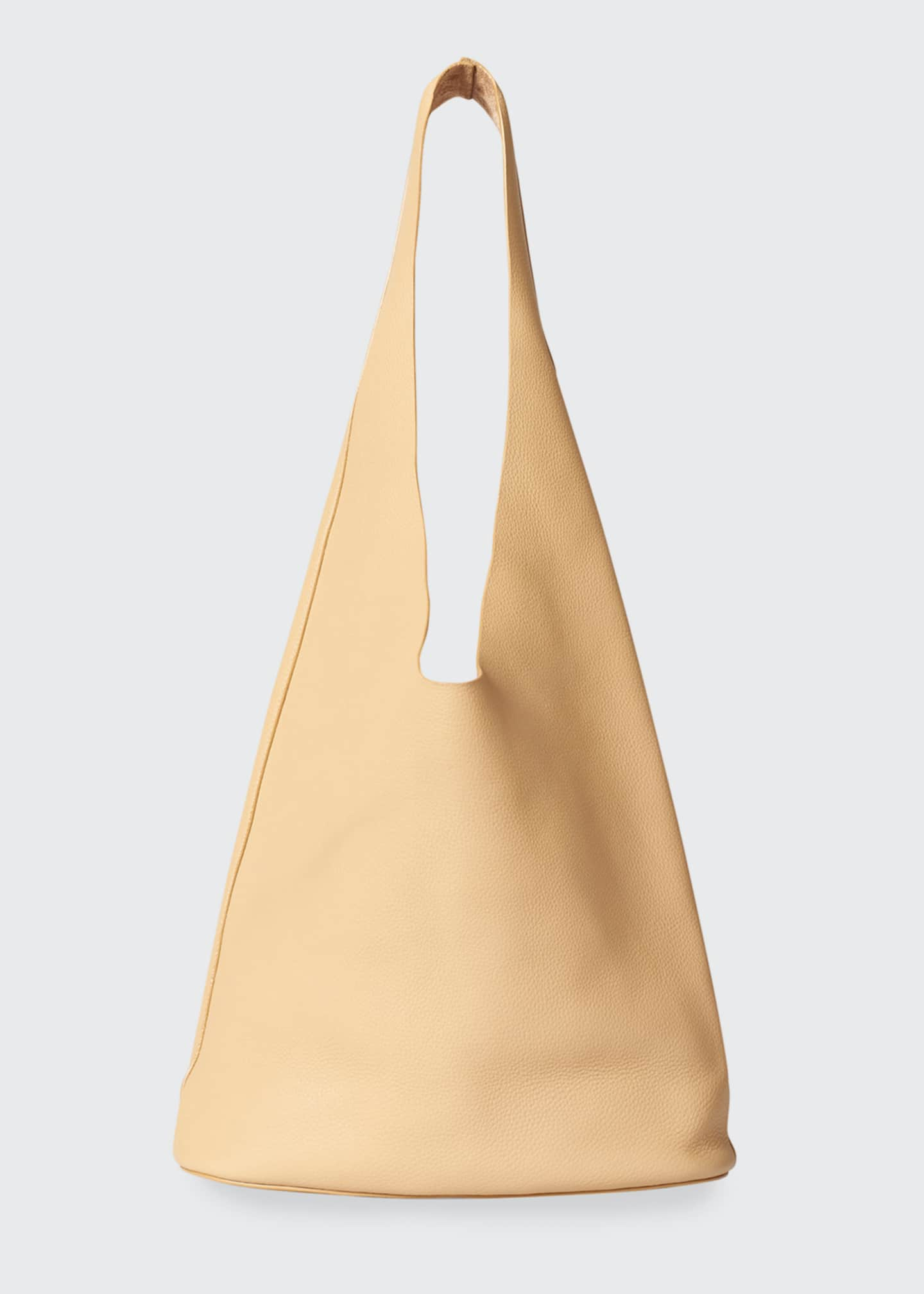 Image 1 of 5: Leather Hobo Bucket Bag