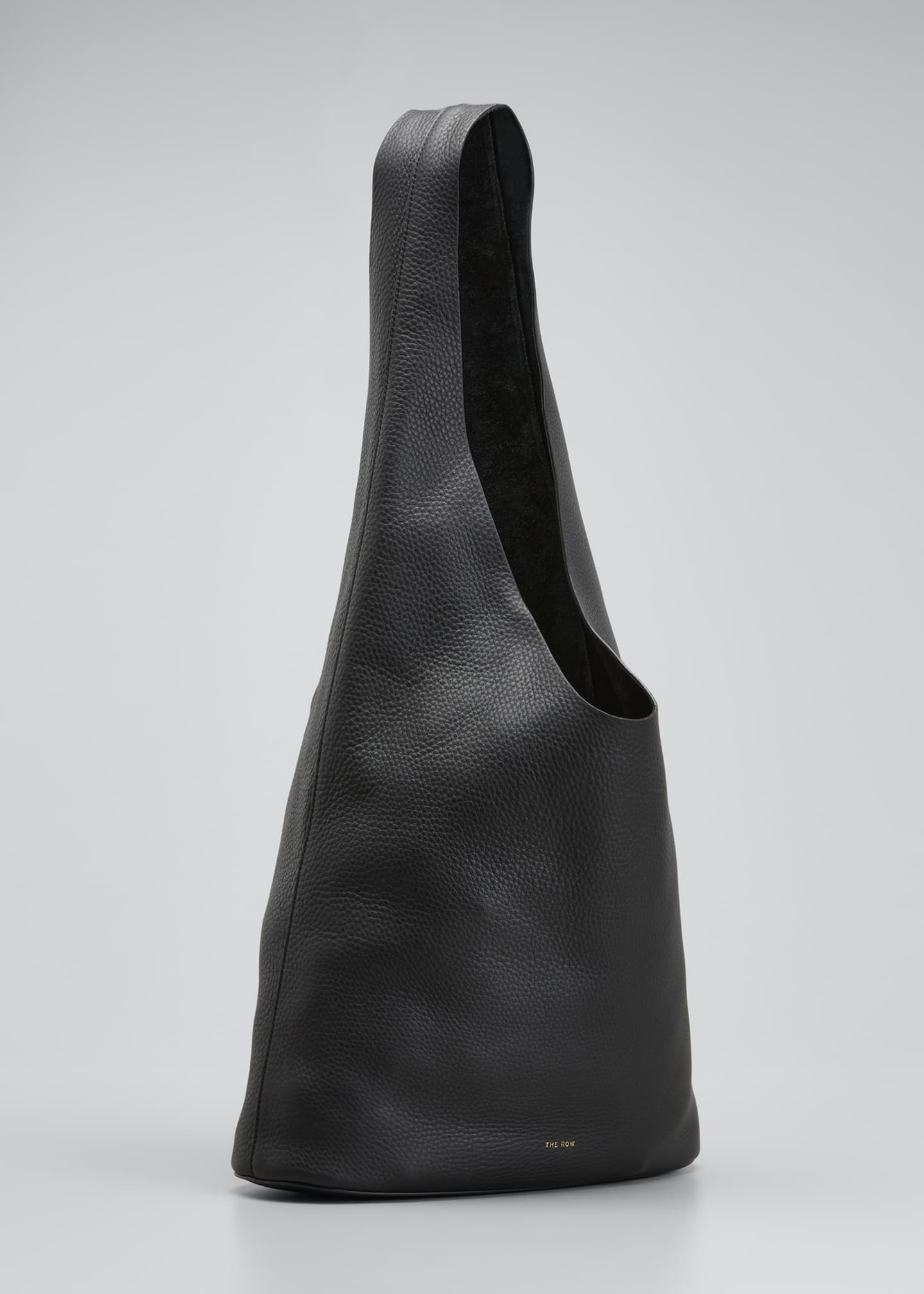 Image 3 of 5: Leather Hobo Bucket Bag