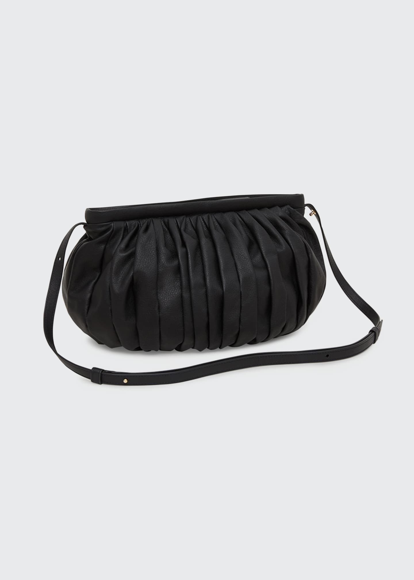 Image 2 of 3: Balloon Pleated Leather Shoulder Clutch Bag