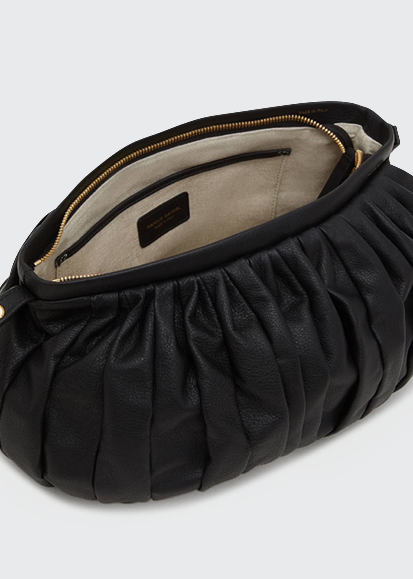 Image 3 of 3: Balloon Pleated Leather Shoulder Clutch Bag