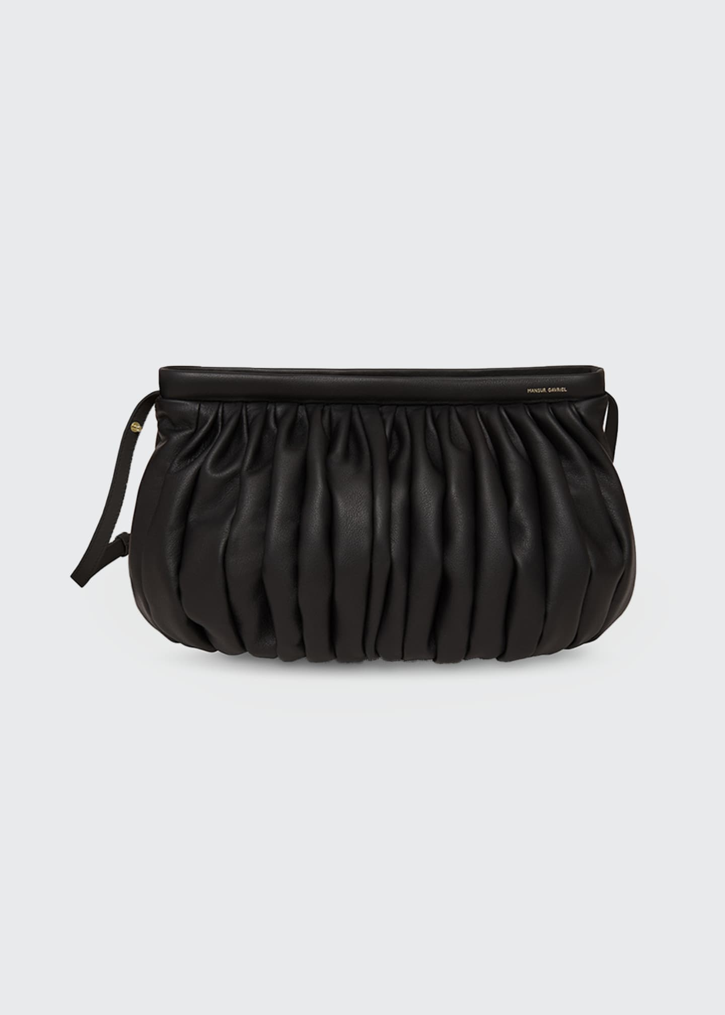 Image 1 of 3: Balloon Pleated Leather Shoulder Clutch Bag