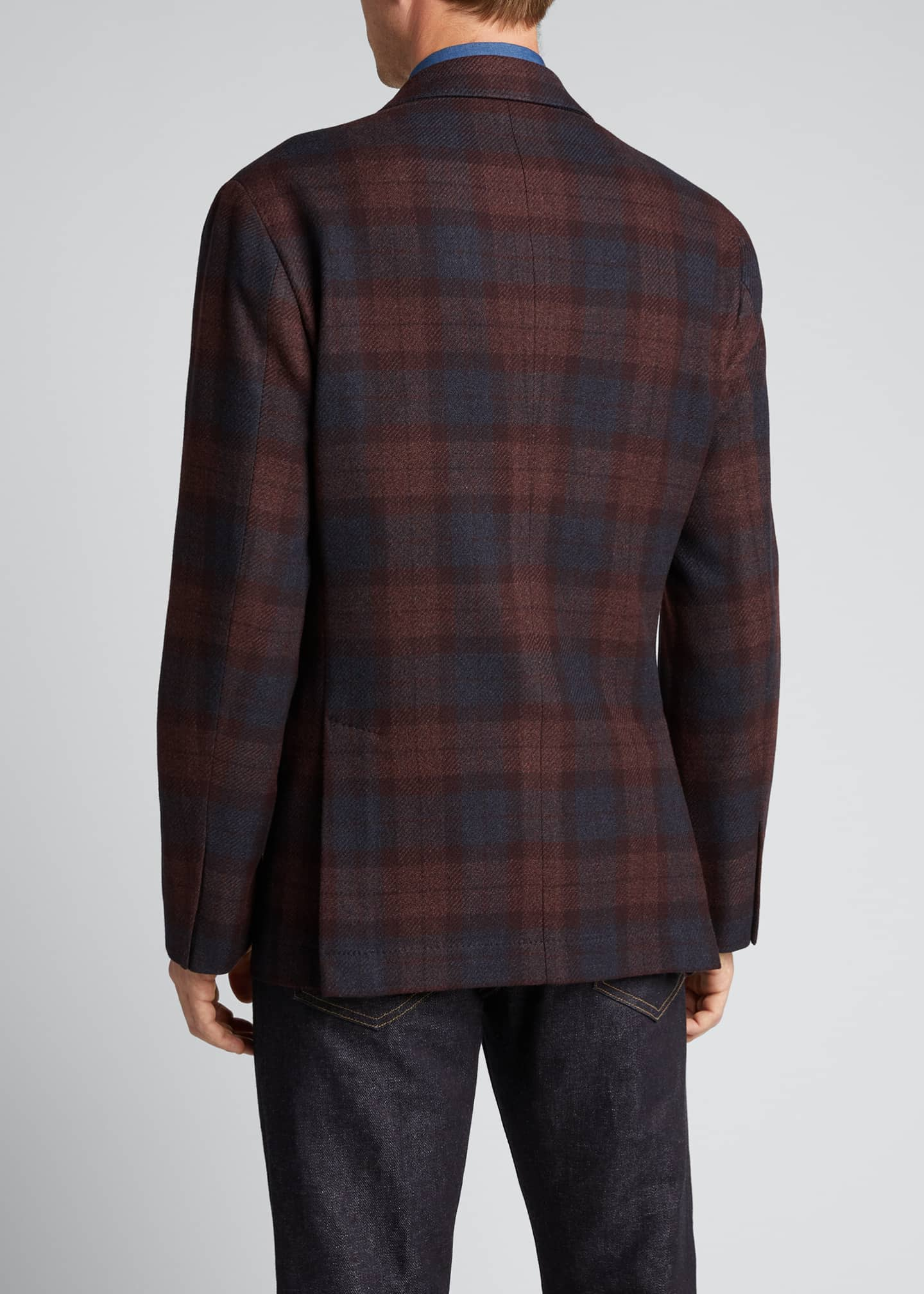 Image 2 of 5: Men's Madras Plaid Notch-Lapel Sport Jacket