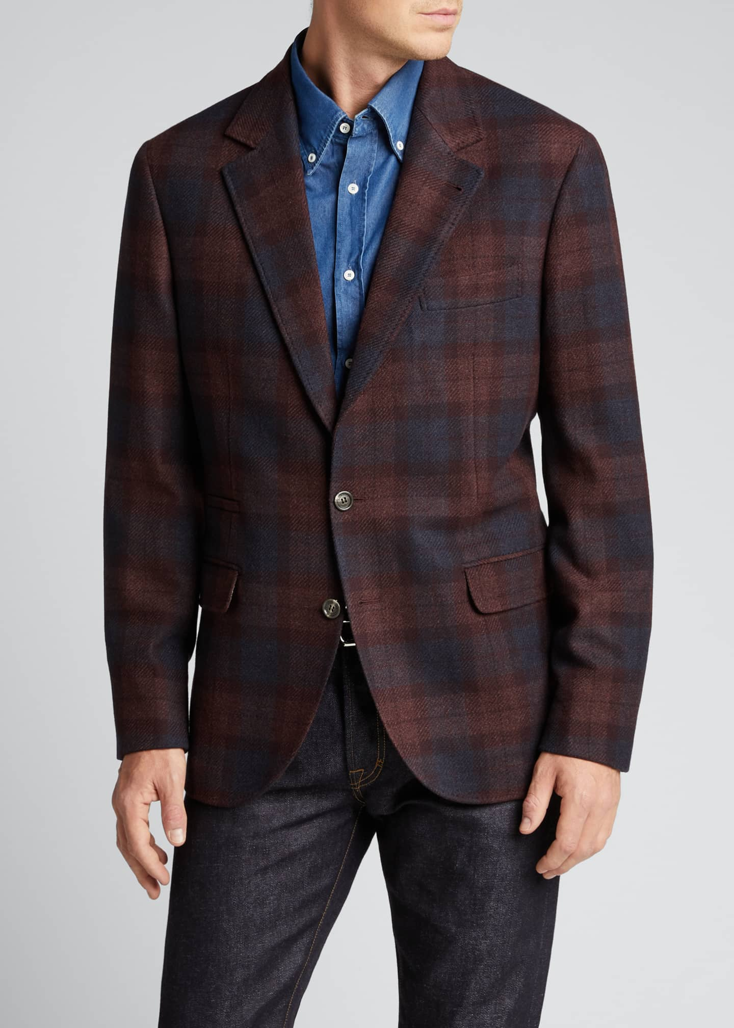 Image 3 of 5: Men's Madras Plaid Notch-Lapel Sport Jacket