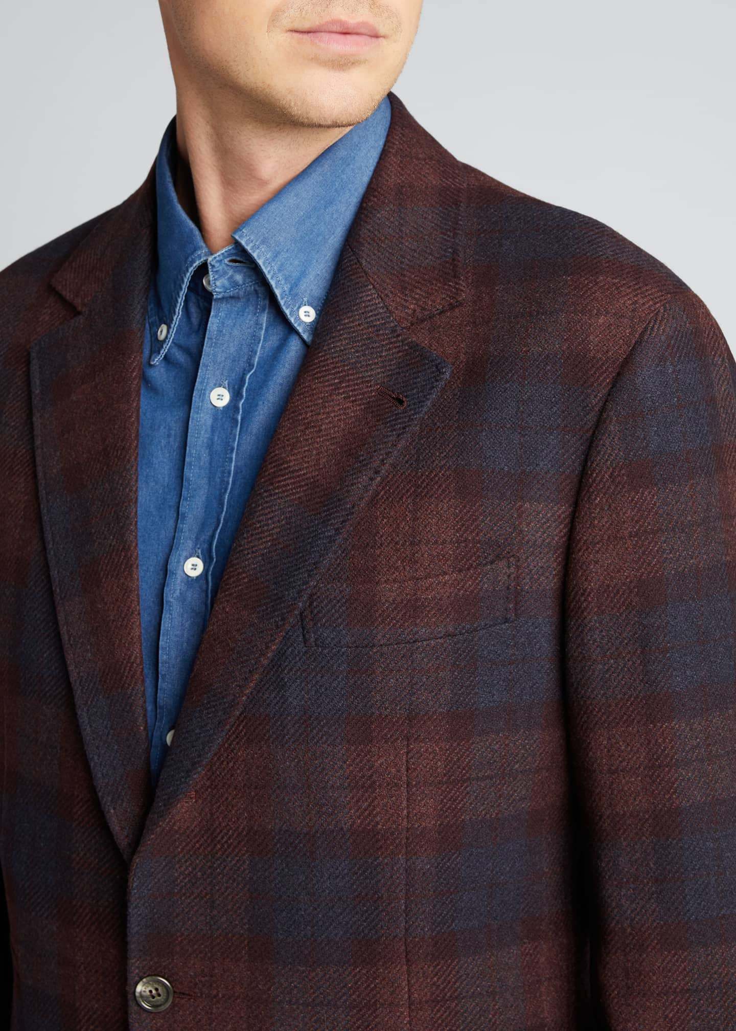 Image 4 of 5: Men's Madras Plaid Notch-Lapel Sport Jacket