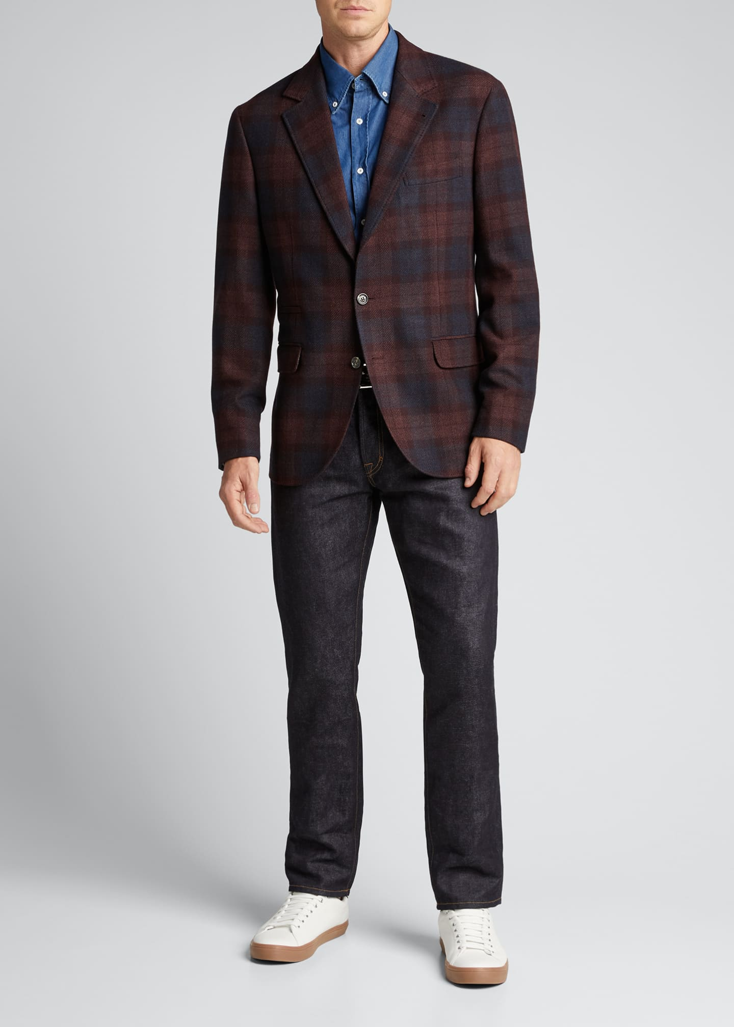 Image 1 of 5: Men's Madras Plaid Notch-Lapel Sport Jacket