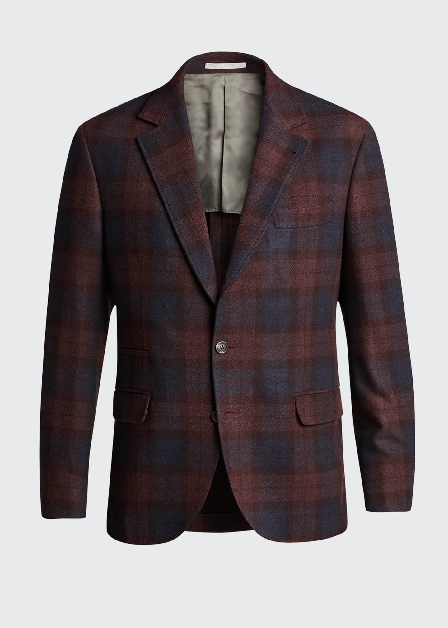 Image 5 of 5: Men's Madras Plaid Notch-Lapel Sport Jacket