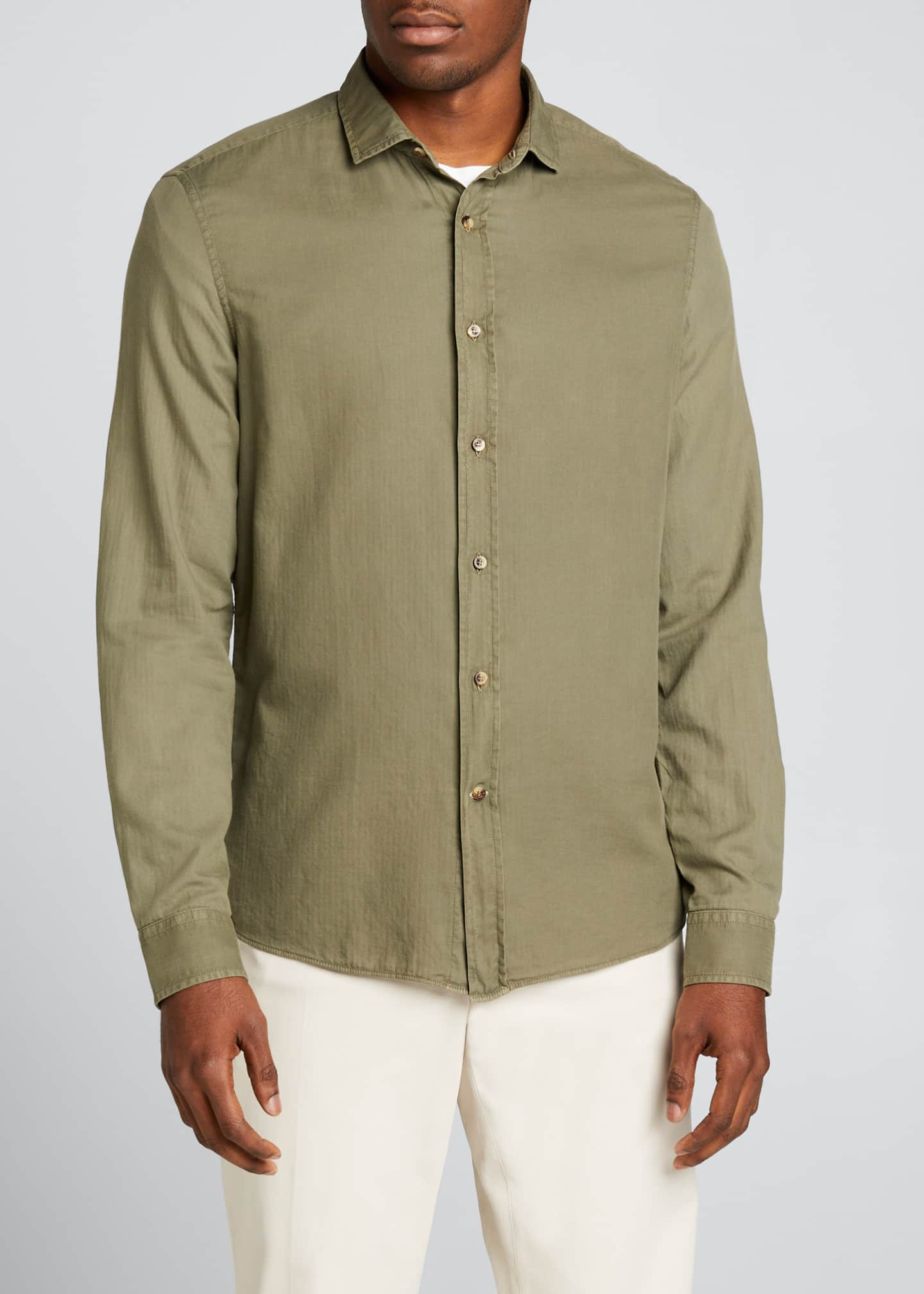 Image 3 of 5: Men's Leisure-Fit Solid Sport Shirt