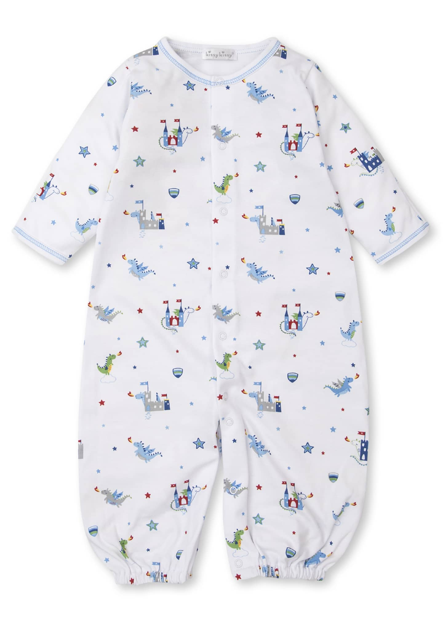 Image 2 of 3: Dragon Towers Printed Convertible Sleep Gown, Size Newborn-Small