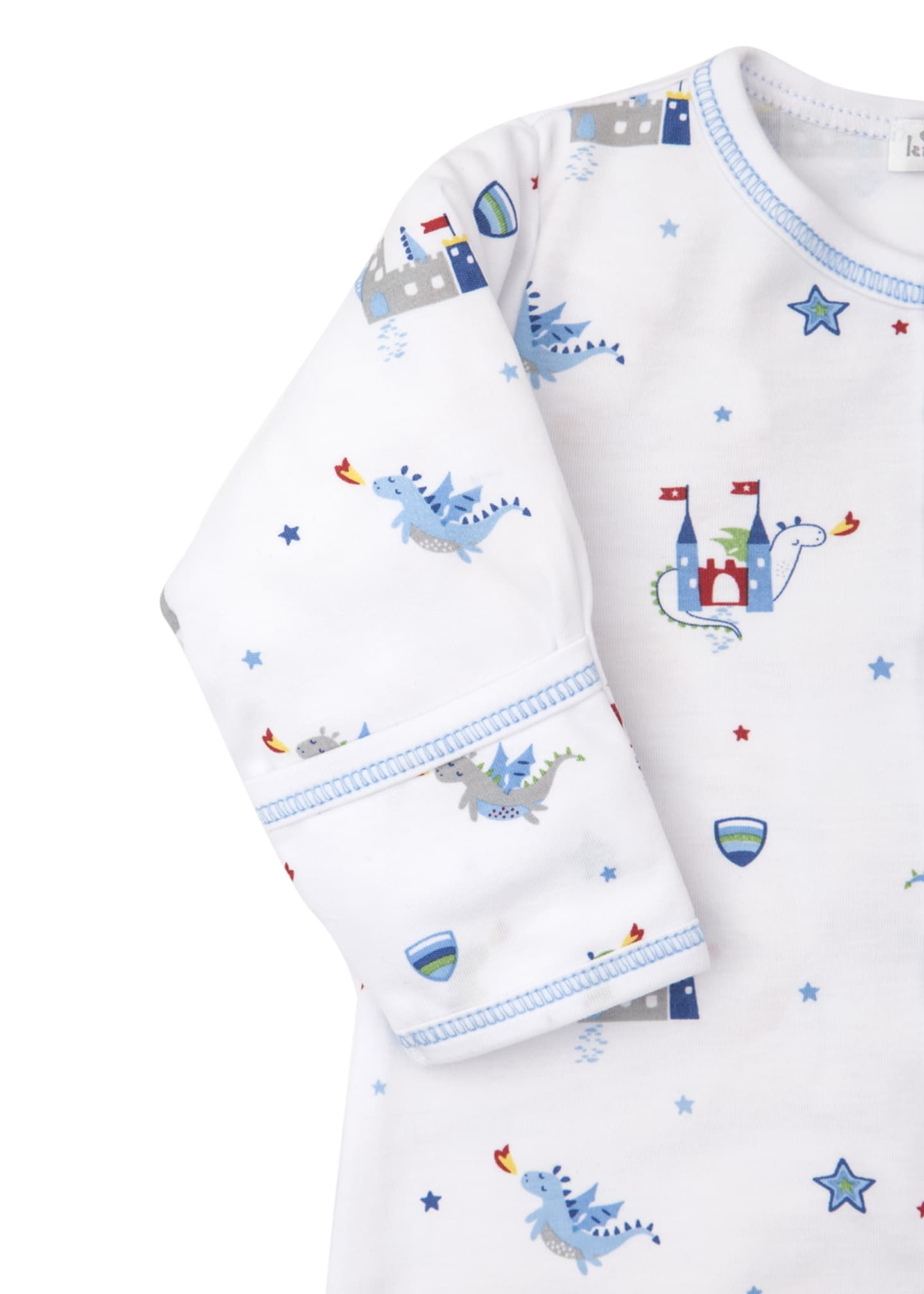 Image 3 of 3: Dragon Towers Printed Convertible Sleep Gown, Size Newborn-Small