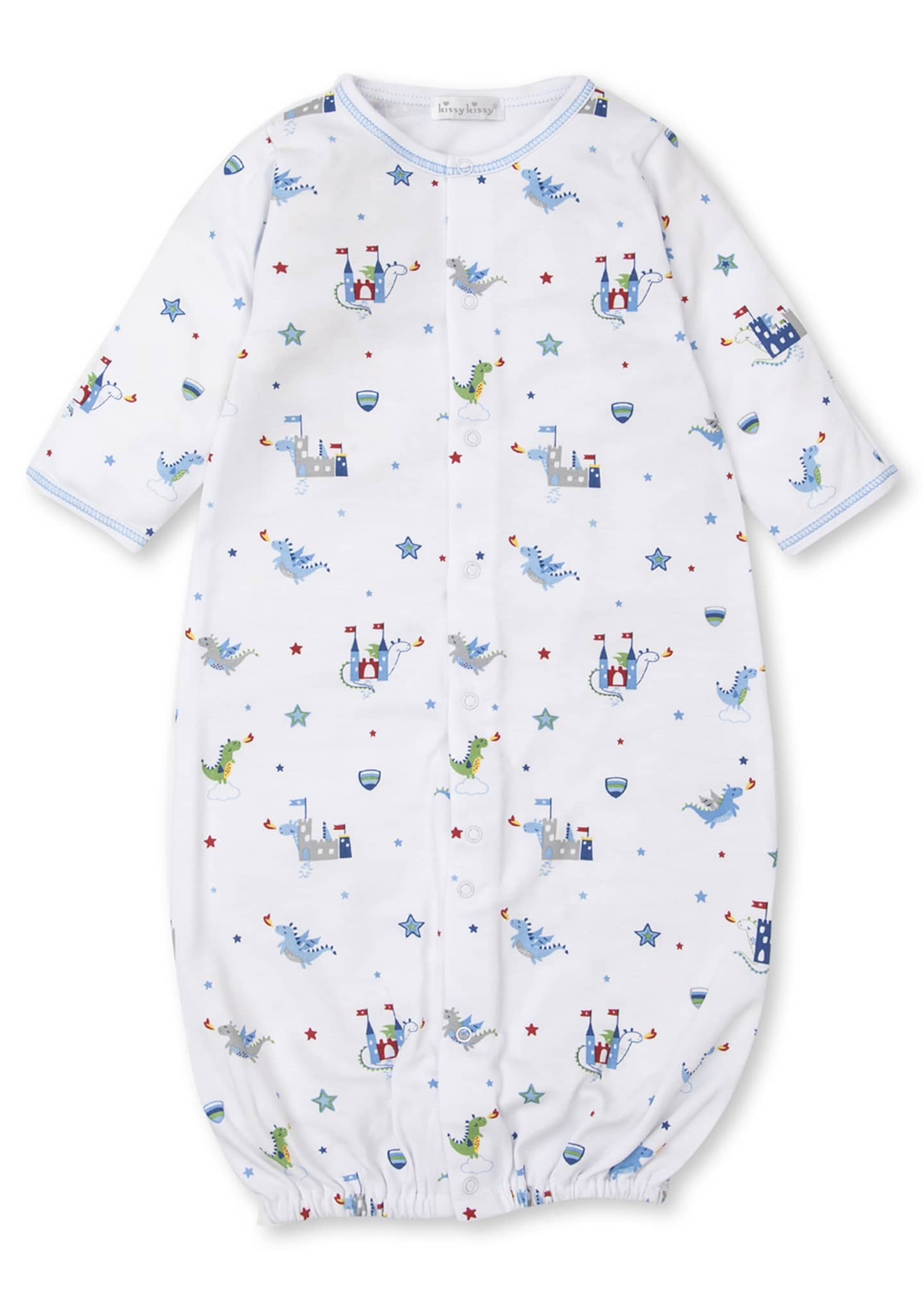 Image 1 of 3: Dragon Towers Printed Convertible Sleep Gown, Size Newborn-Small