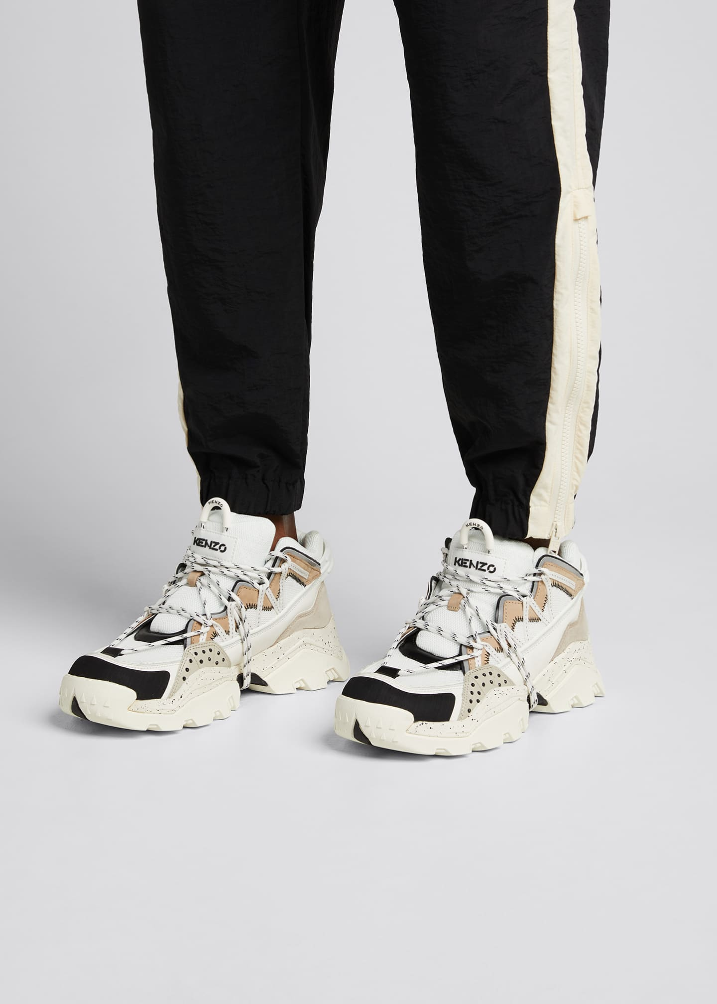 Image 2 of 5: Men's Inka Mix-Media Wraparound-Lace Sneakers