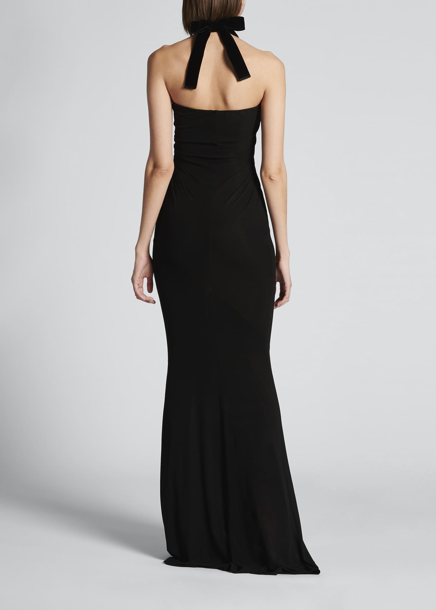 Image 2 of 4: Velvet Tie-Neck Jersey Gown