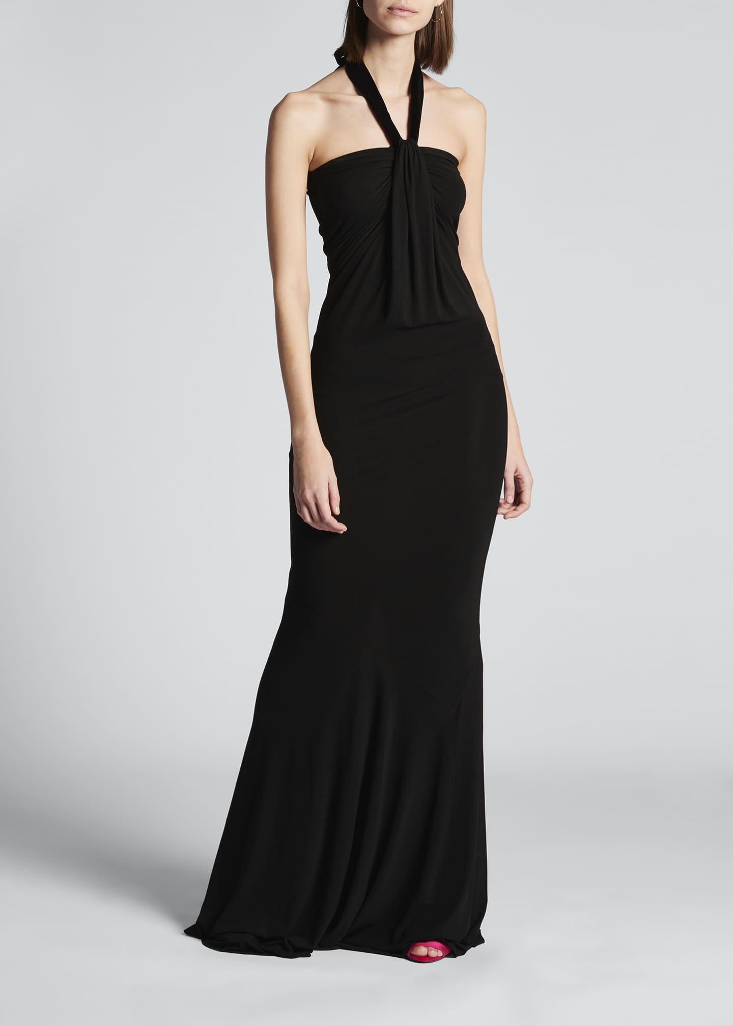 Image 3 of 4: Velvet Tie-Neck Jersey Gown