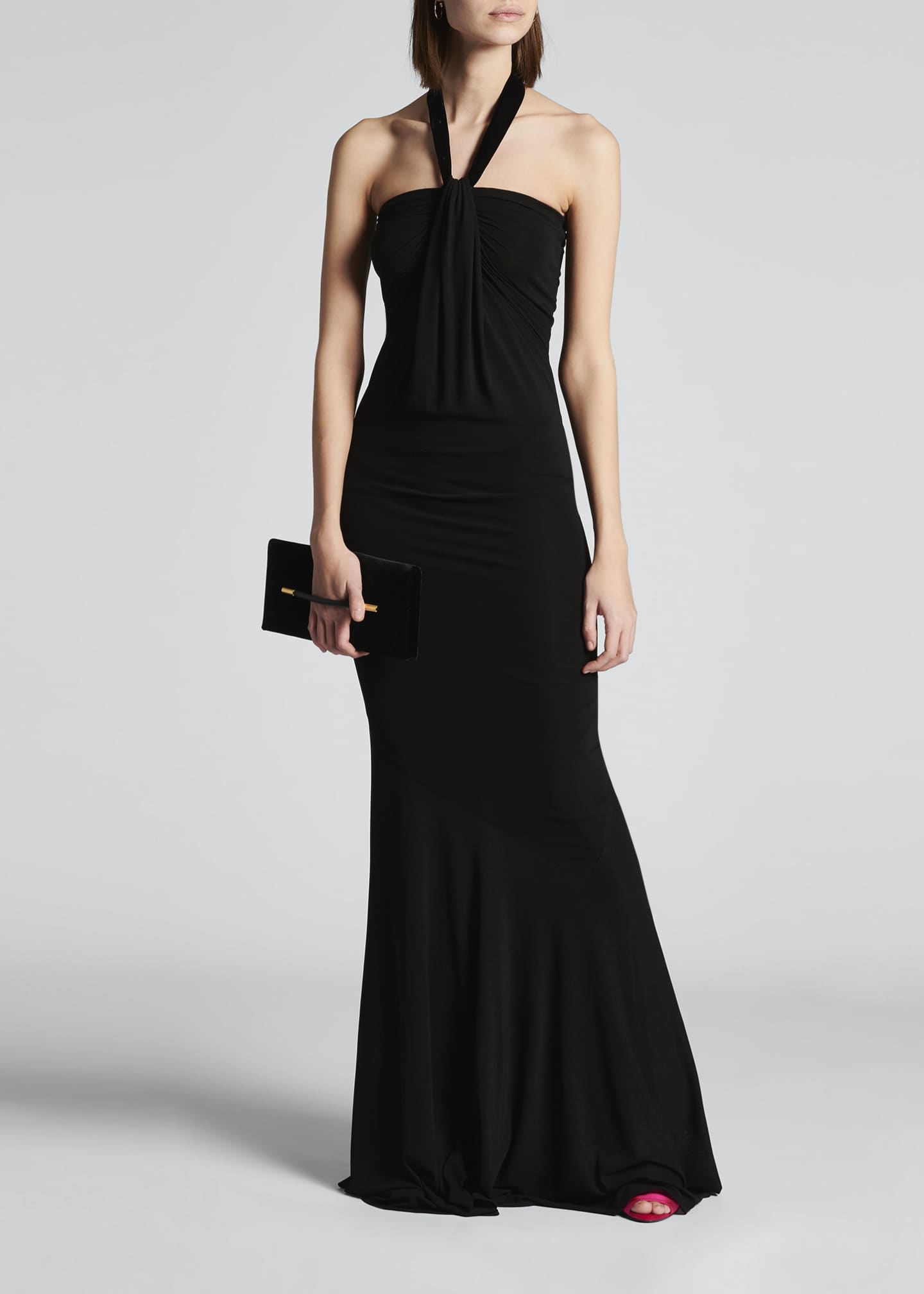 Image 1 of 4: Velvet Tie-Neck Jersey Gown