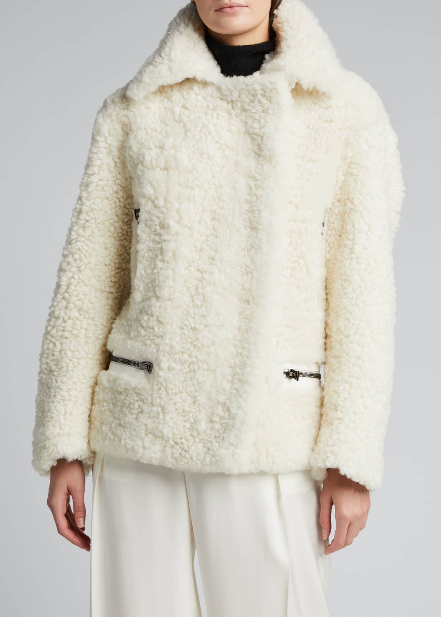 Image 3 of 5: Shearling Zip-Front Jacket