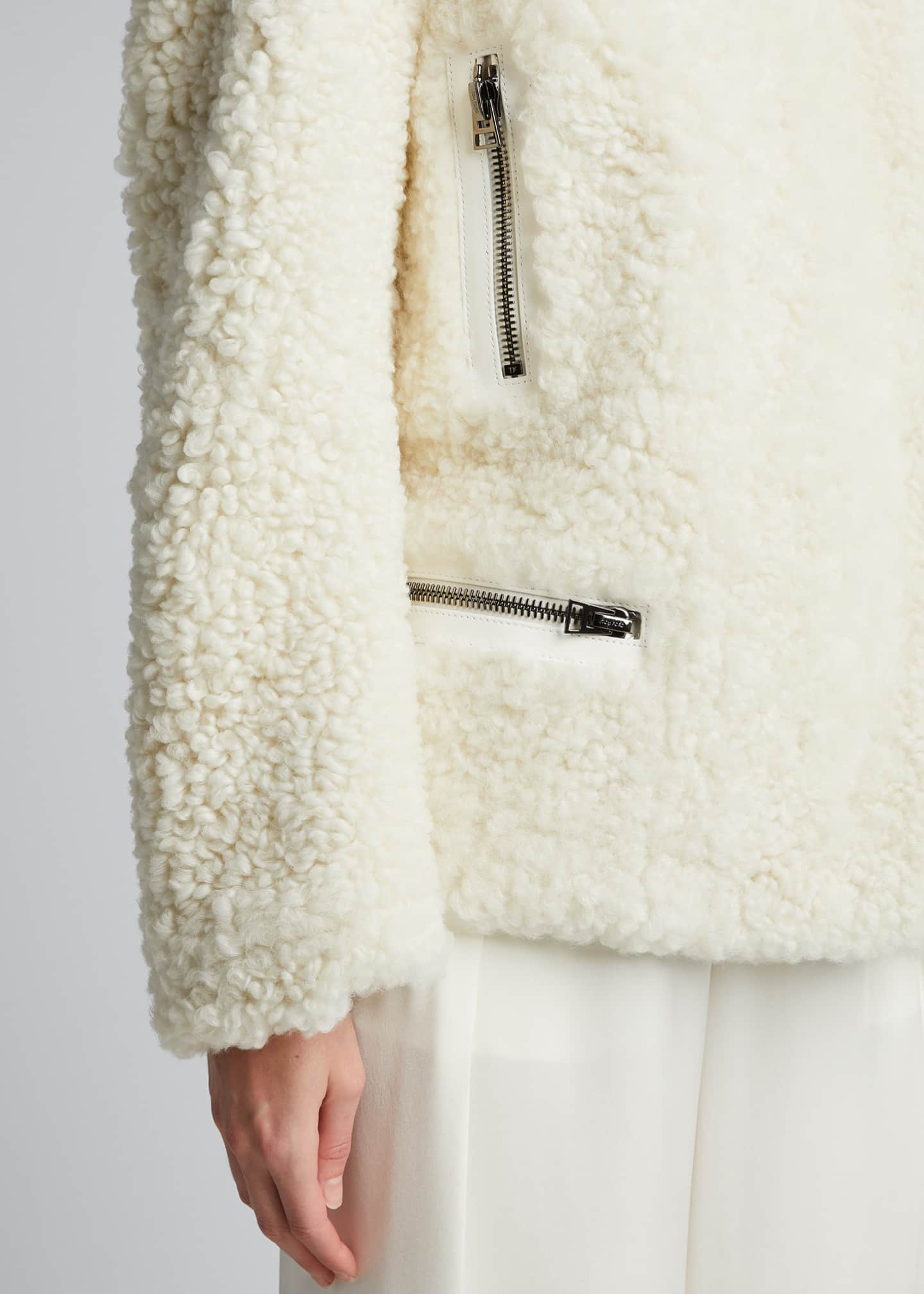 Image 4 of 5: Shearling Zip-Front Jacket