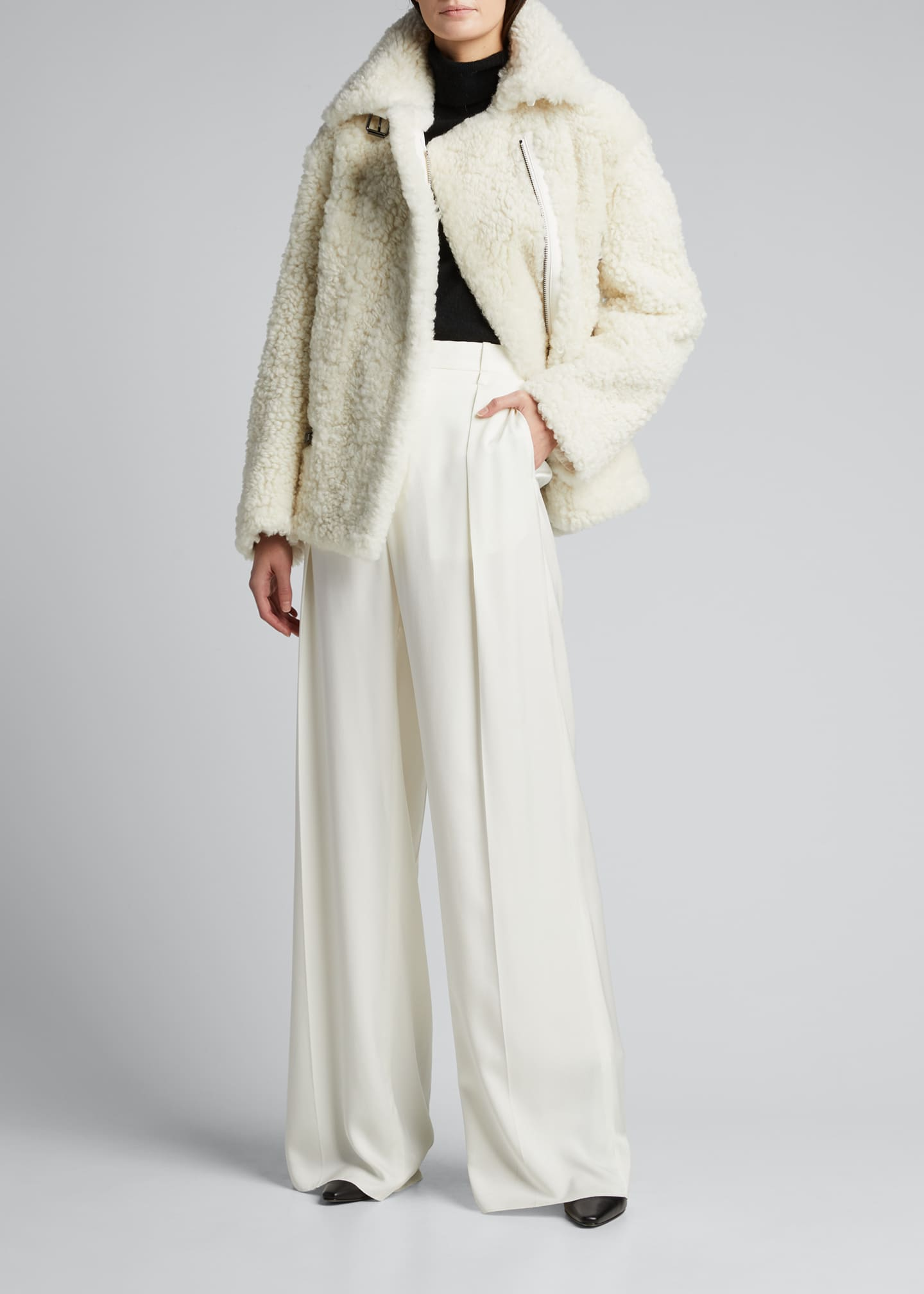 Image 1 of 5: Shearling Zip-Front Jacket