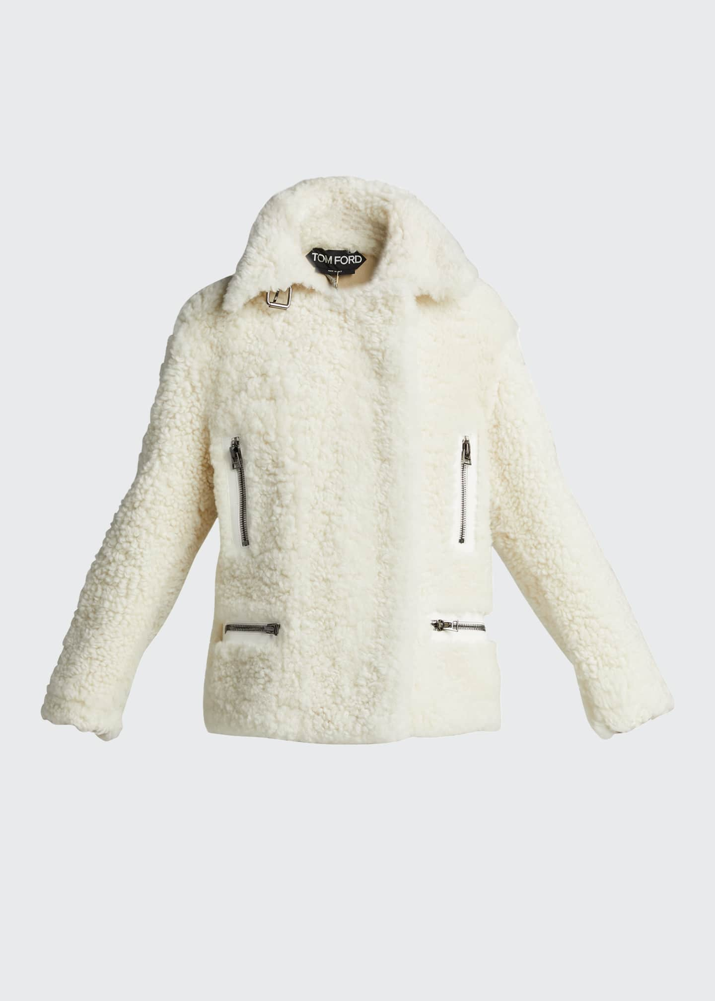 Image 5 of 5: Shearling Zip-Front Jacket