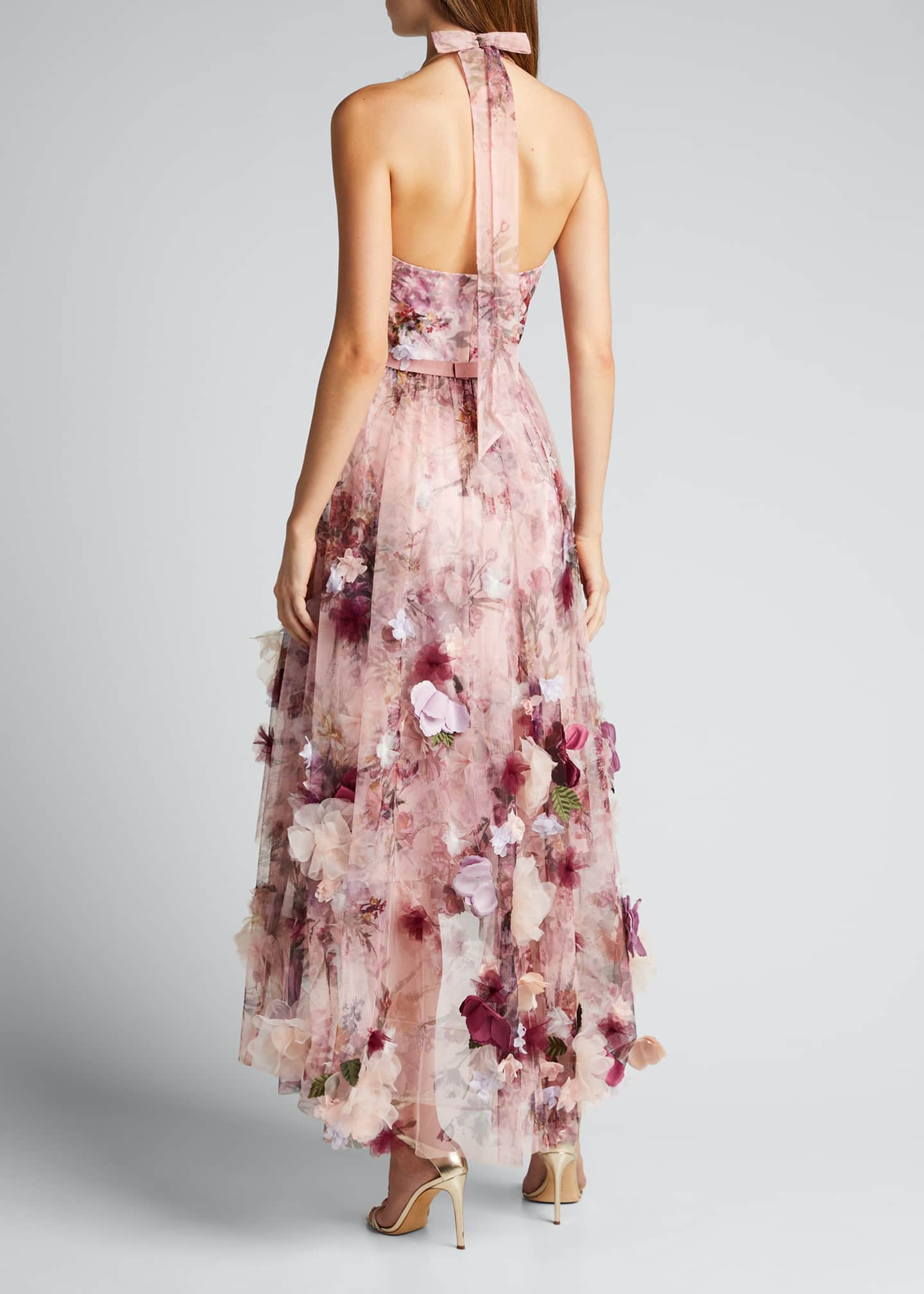 Image 2 of 5: High-Low Floral Printed Tulle Halter Dress with 3D Flowers
