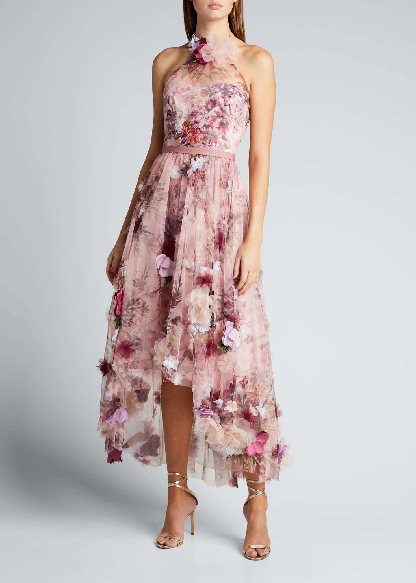 Image 3 of 5: High-Low Floral Printed Tulle Halter Dress with 3D Flowers
